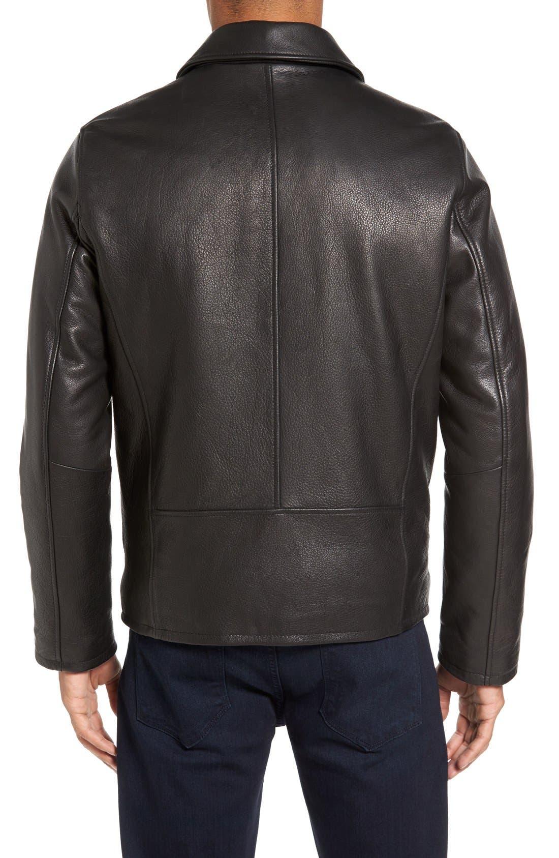 Leather Zip Front Jacket,                             Alternate thumbnail 2, color,                             001