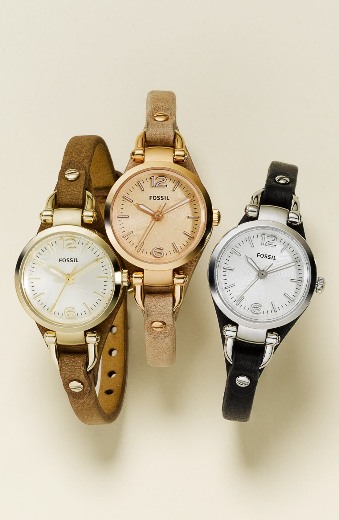 'Small Georgia' Leather Strap Watch, 26mm,                         Main,                         color, BEIGE/ WHITE/ ROSE GOLD