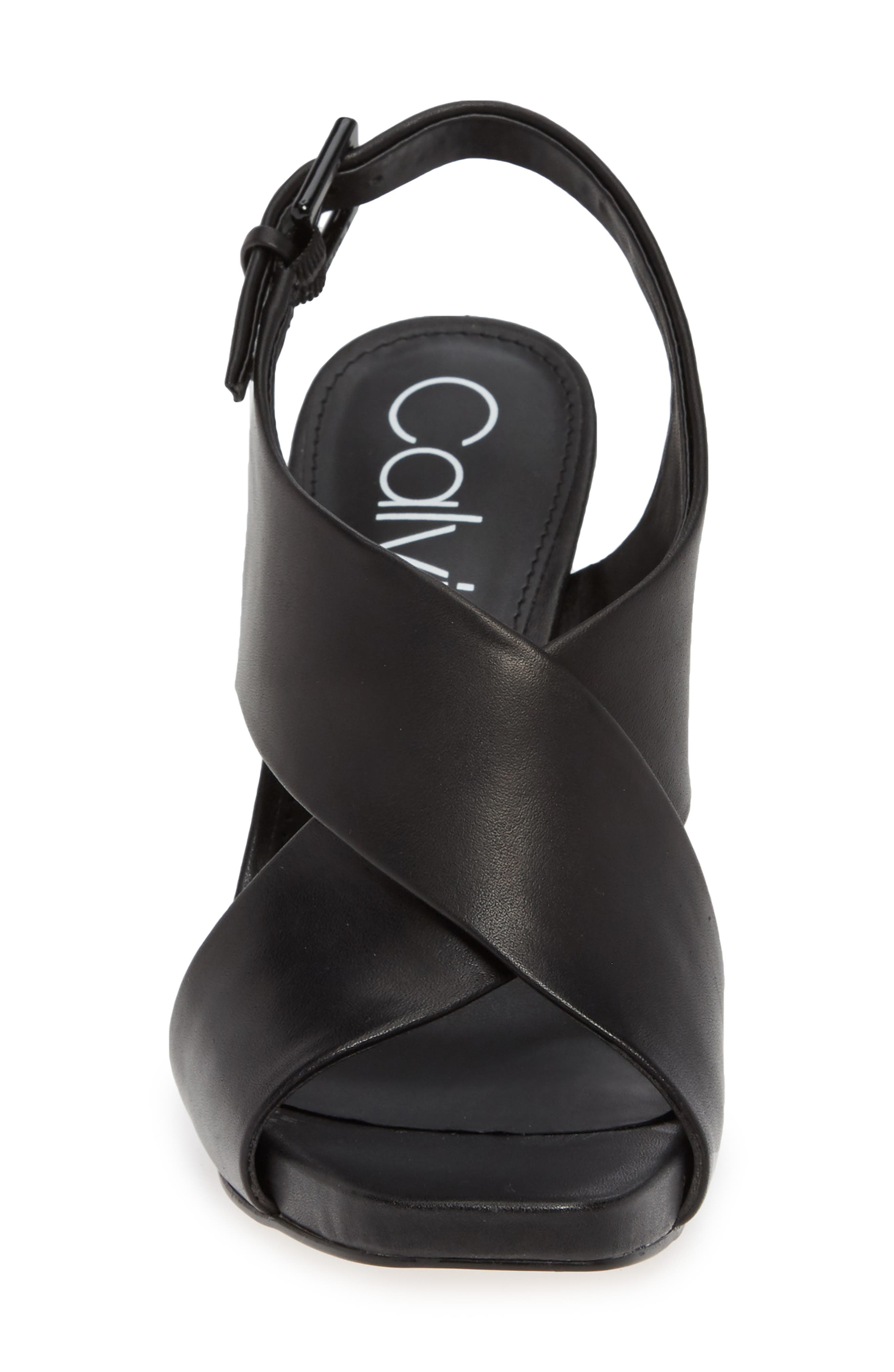 Myra Cross Strap Sandal,                             Alternate thumbnail 4, color,                             BLACK LEATHER