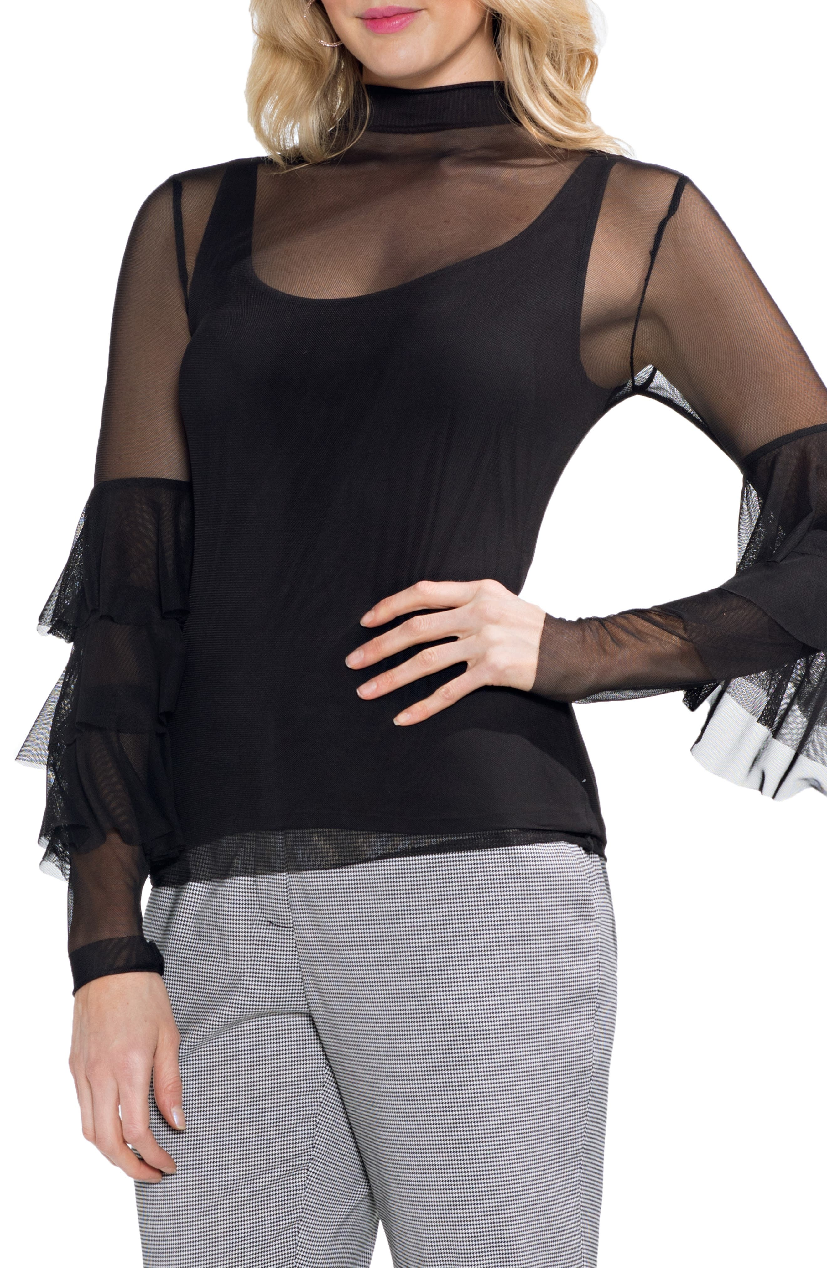 Ruffled Stretch Mesh Top,                         Main,                         color, 006