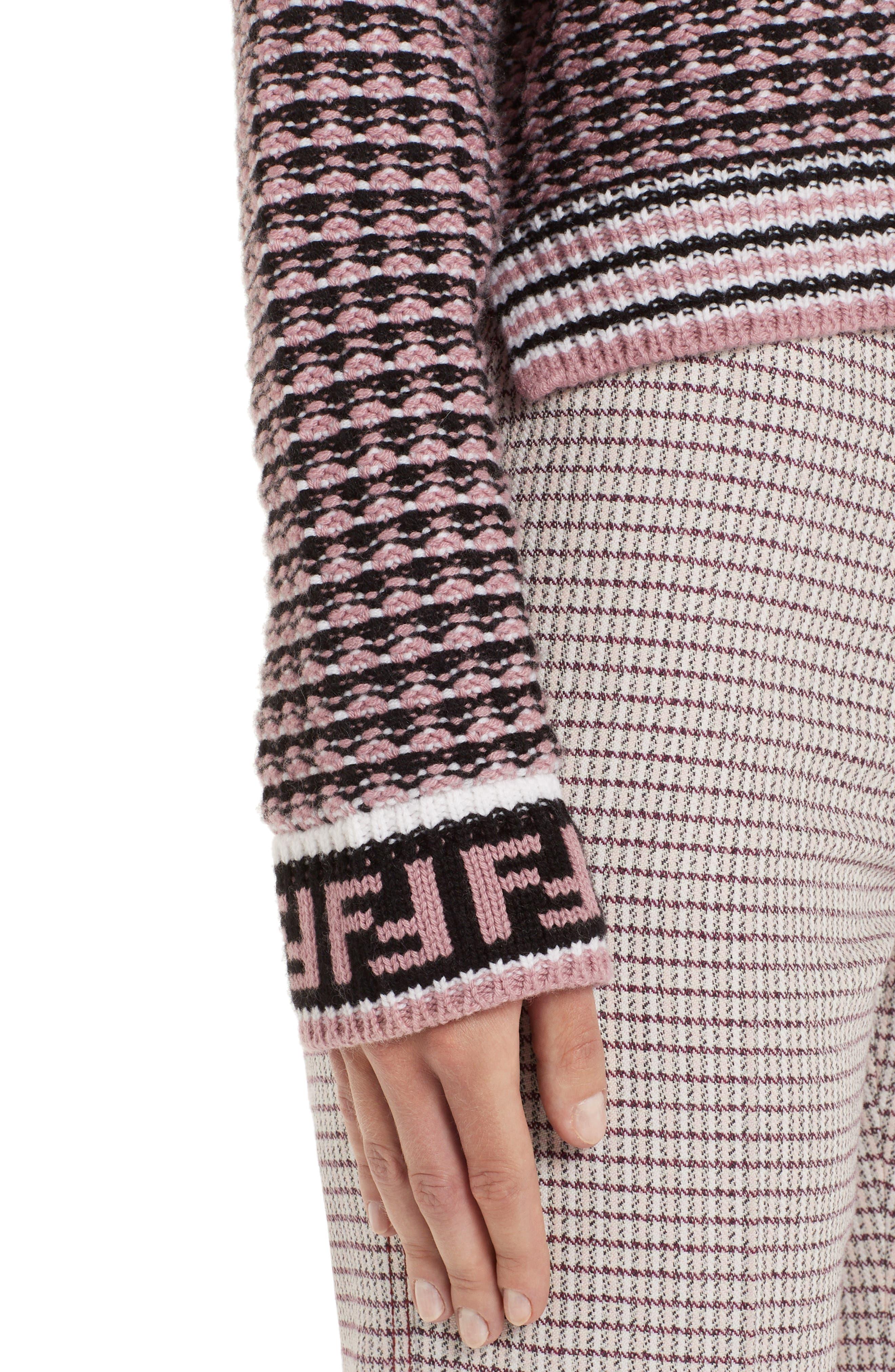 Microcheck Wool & Cashmere Sweater,                             Alternate thumbnail 4, color,                             ARUBA PINK