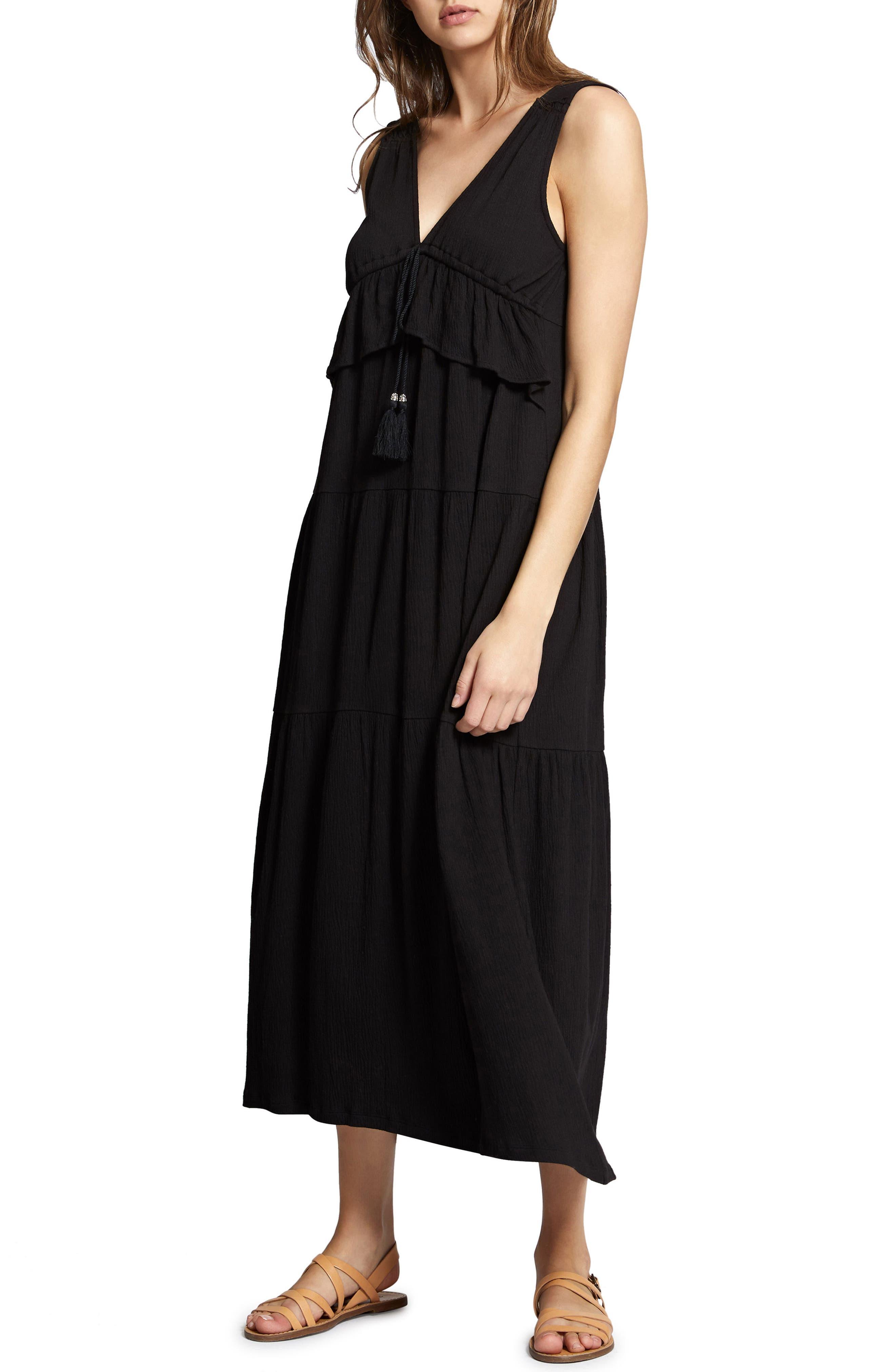 Delphina Tiered Maxi Dress,                             Alternate thumbnail 4, color,                             001