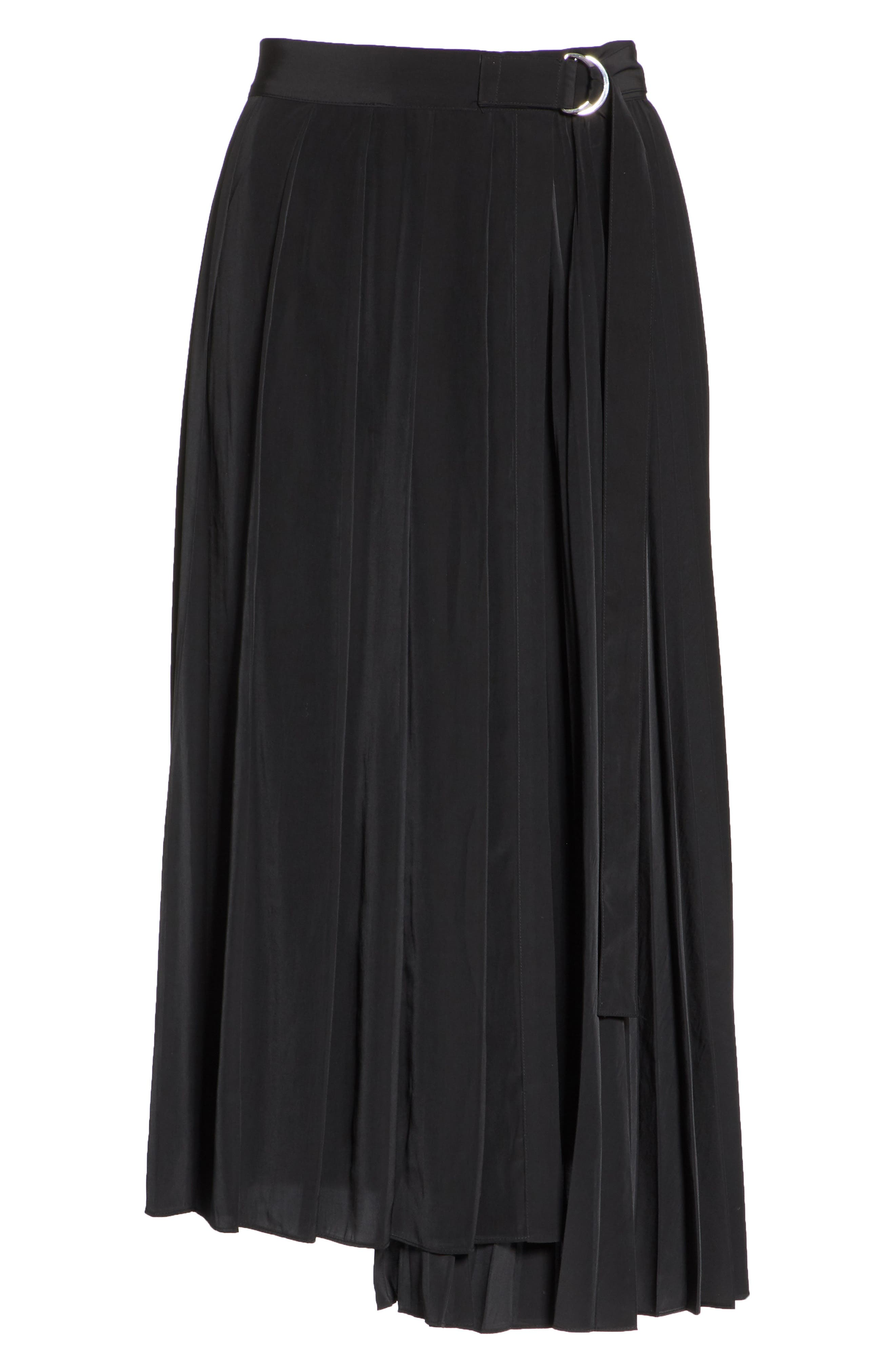 Asymmetrical Pleated Midi Skirt,                             Alternate thumbnail 6, color,                             BLACK
