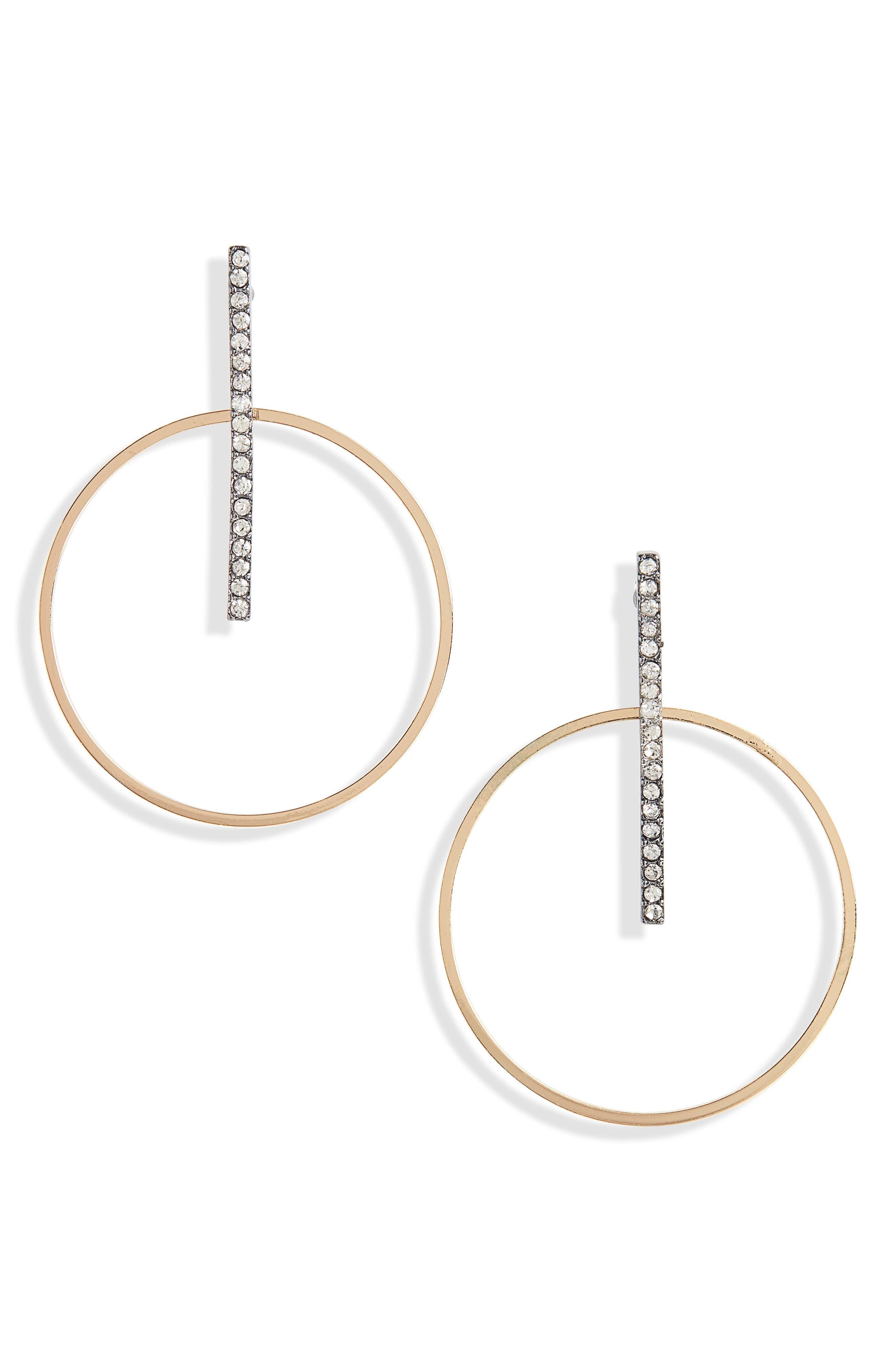 Crystal Bar Hoop Earrings,                         Main,                         color, 710