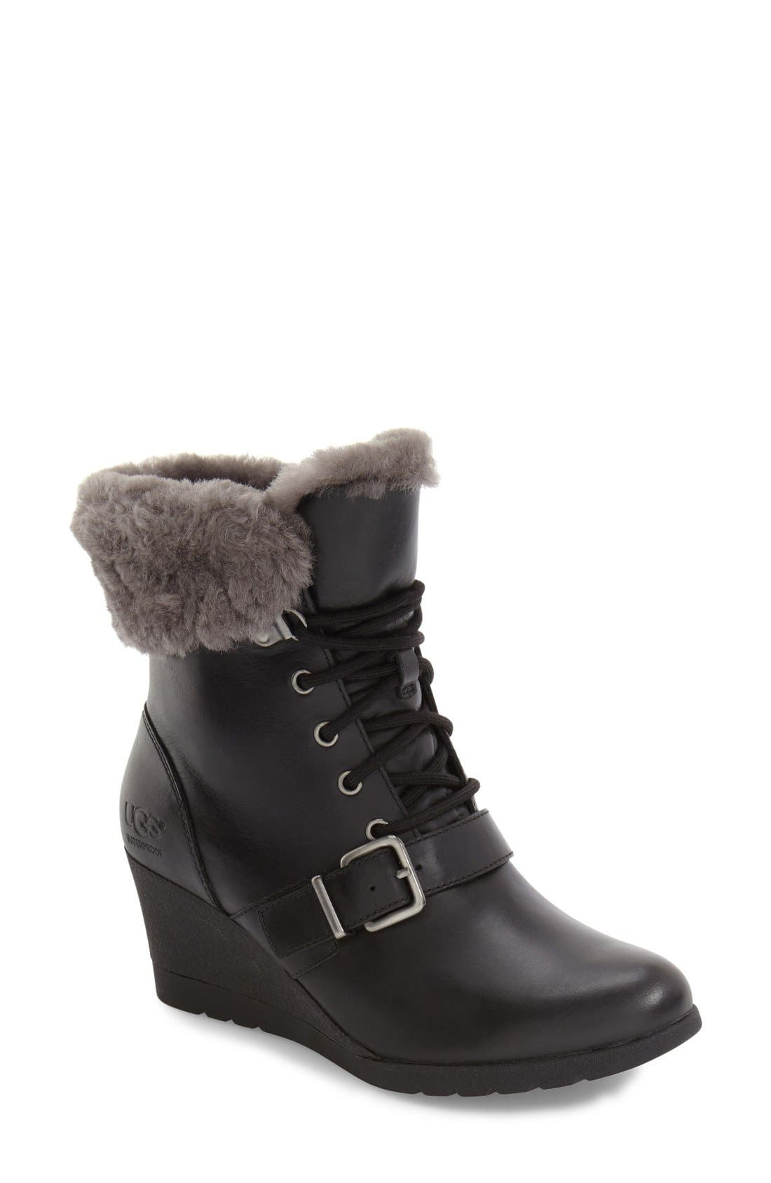 Janney Waterproof Thinsulate<sup>®</sup> Wedge Bootie,                             Main thumbnail 1, color,                             001