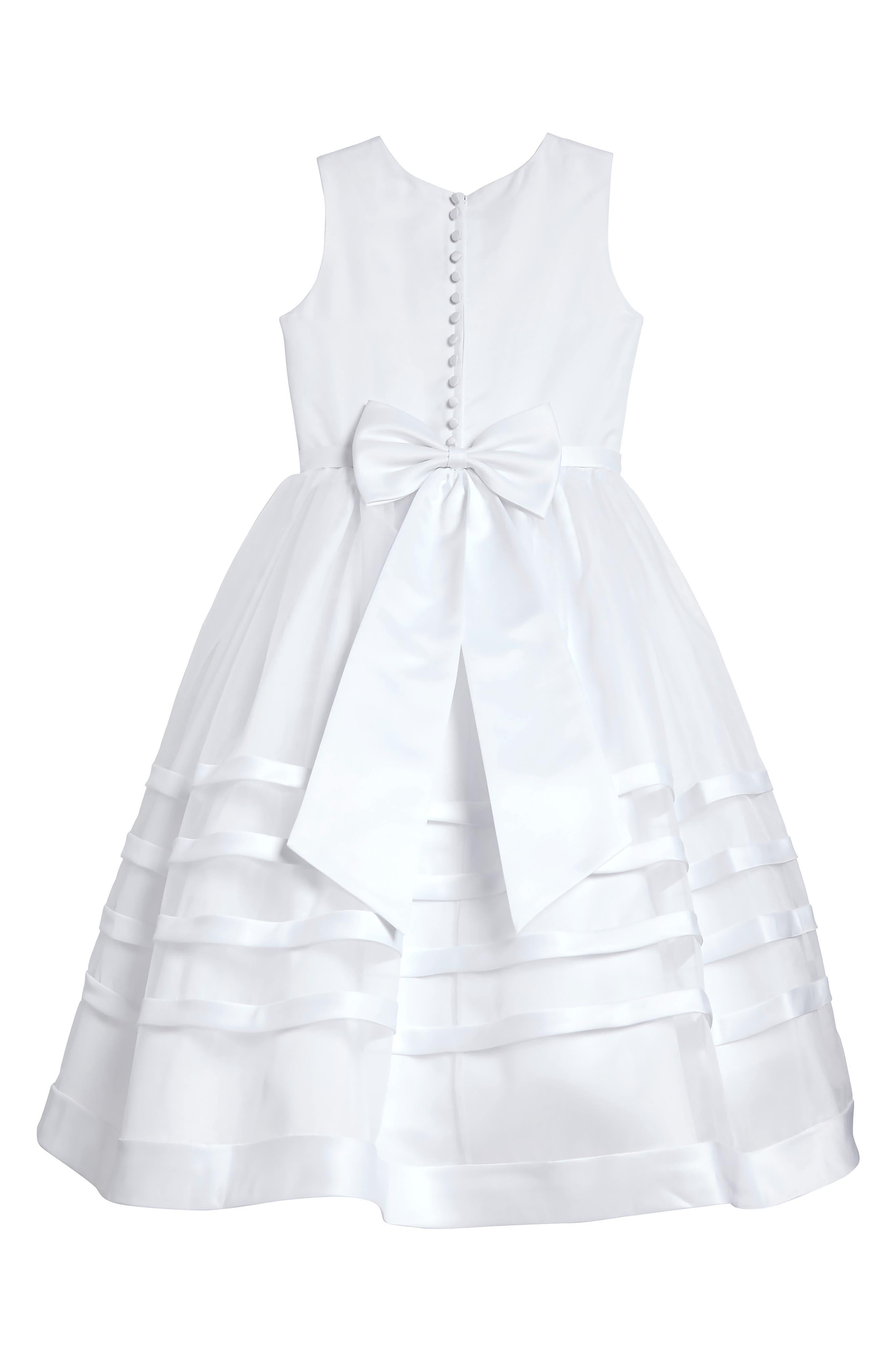 Satin & Organza Dress,                             Alternate thumbnail 2, color,                             100