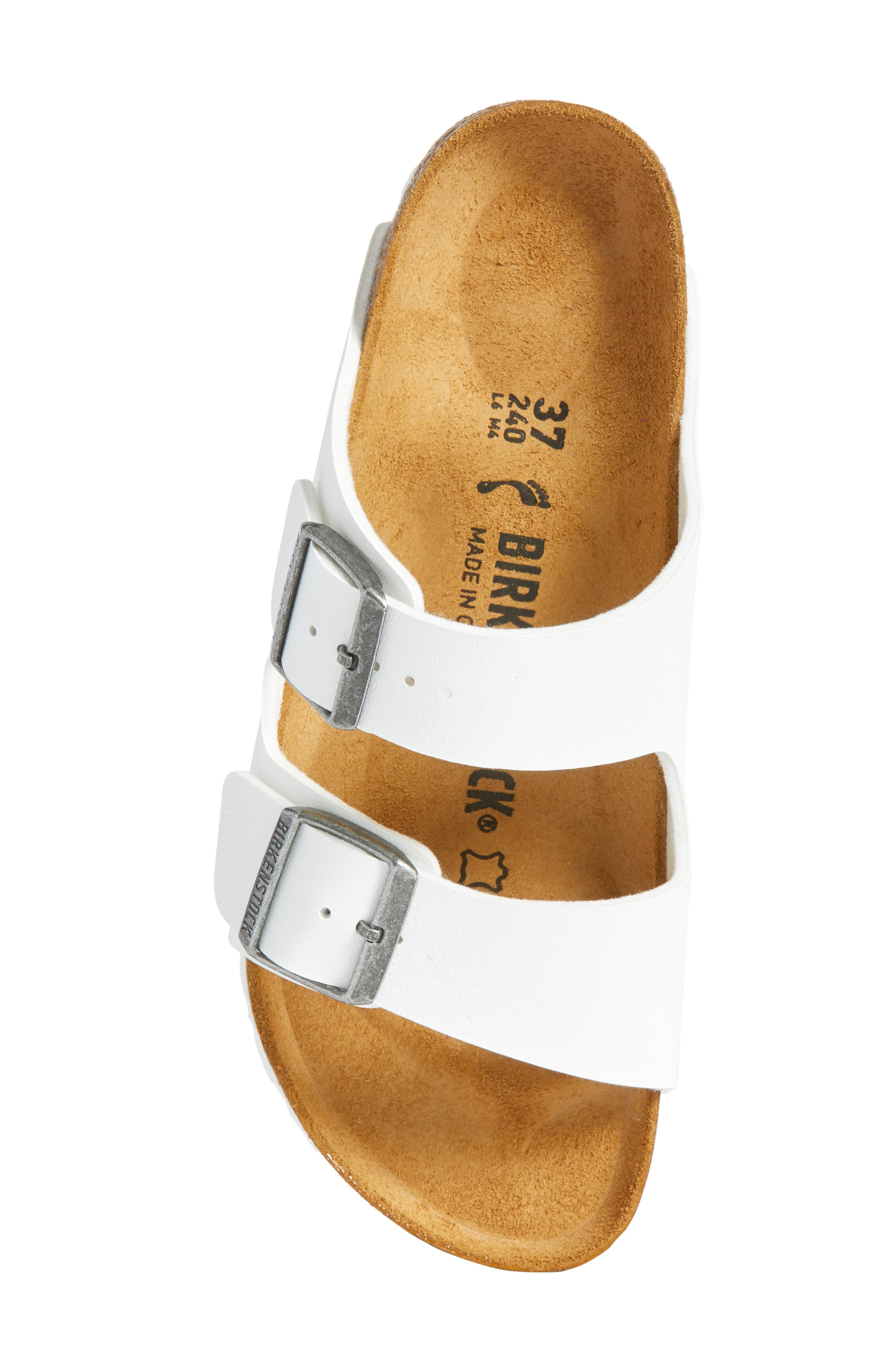 'Arizona' White Birko-Flor Sandal,                             Alternate thumbnail 6, color,                             WHITE SYNTHETIC LEATHER
