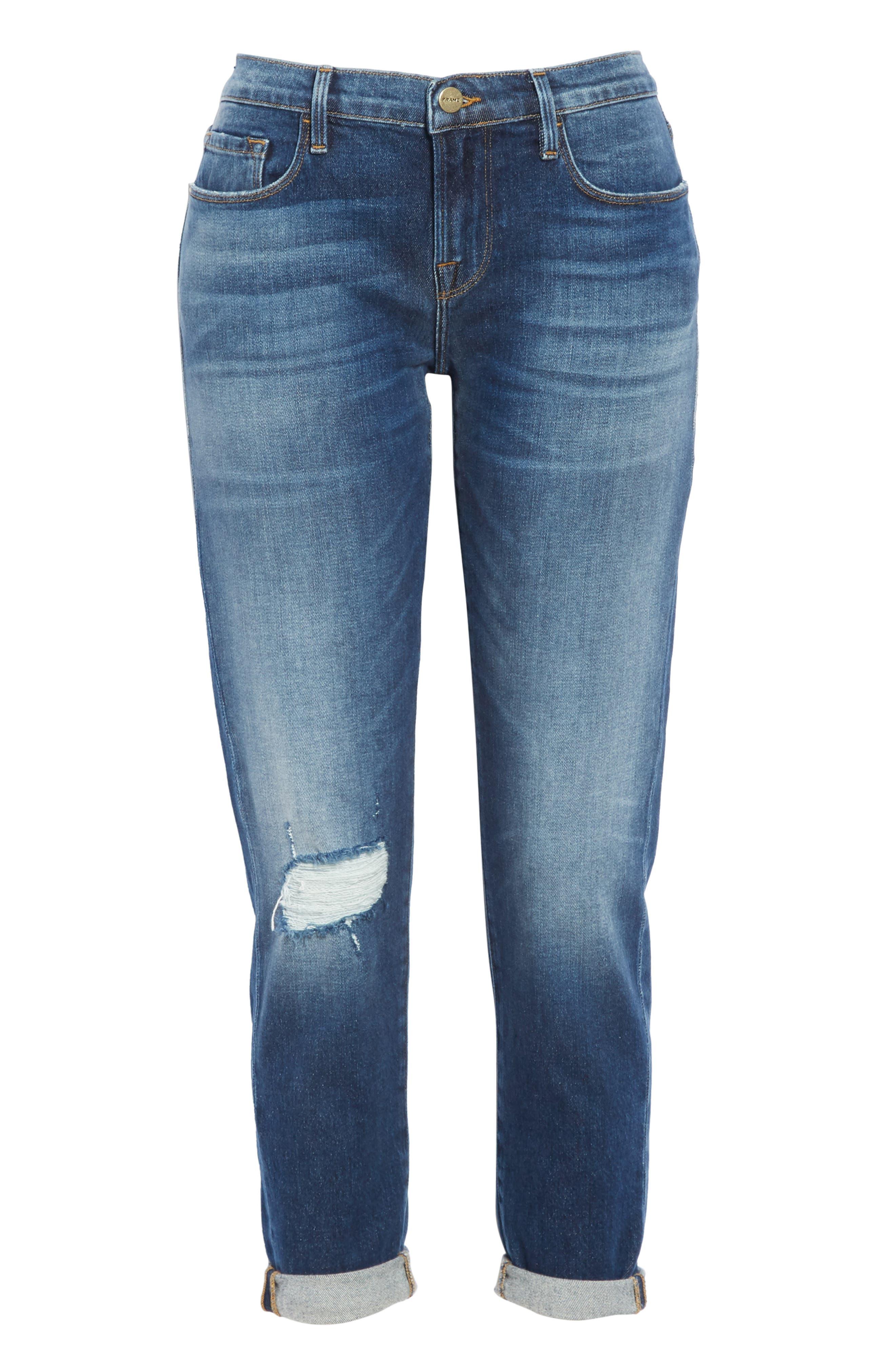 Le Garcon High Waist Ankle Slim Boyfriend Jeans,                             Alternate thumbnail 7, color,                             420
