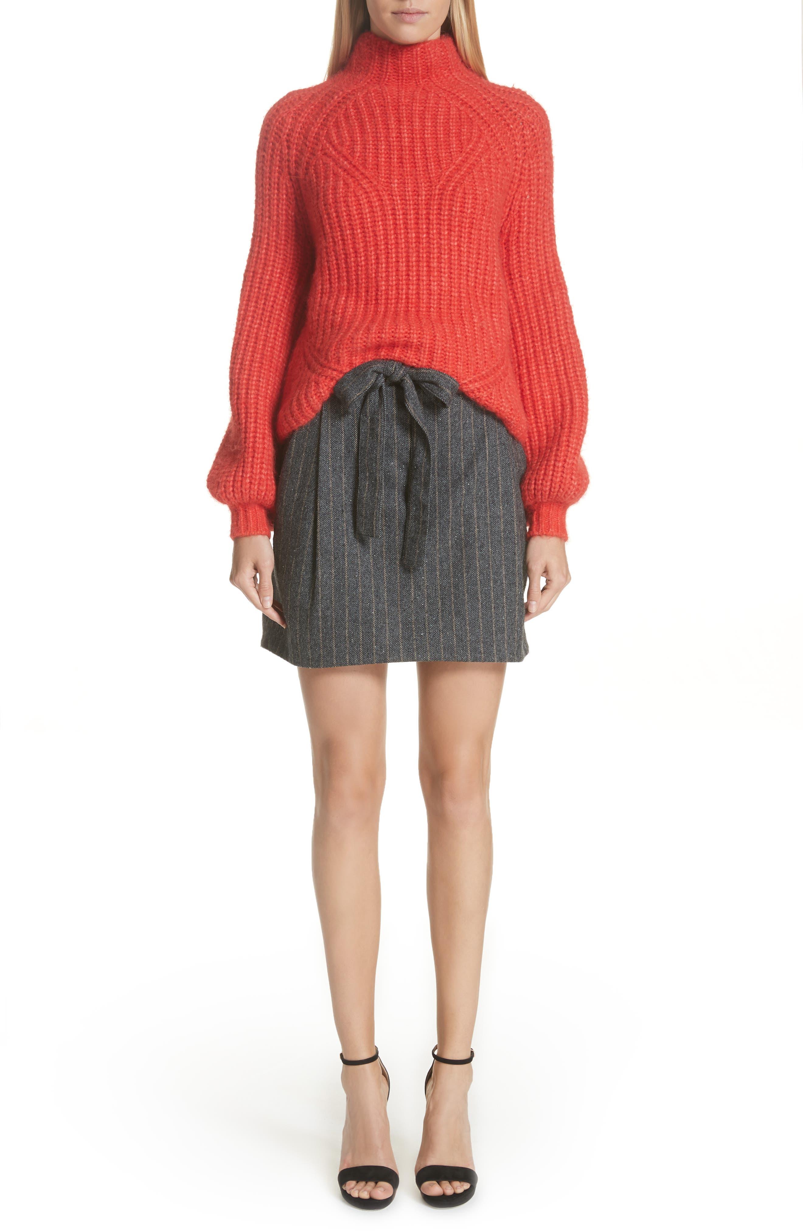 Leo Paperbag Waist Wool & Silk Blend Skirt,                             Alternate thumbnail 7, color,                             ASH