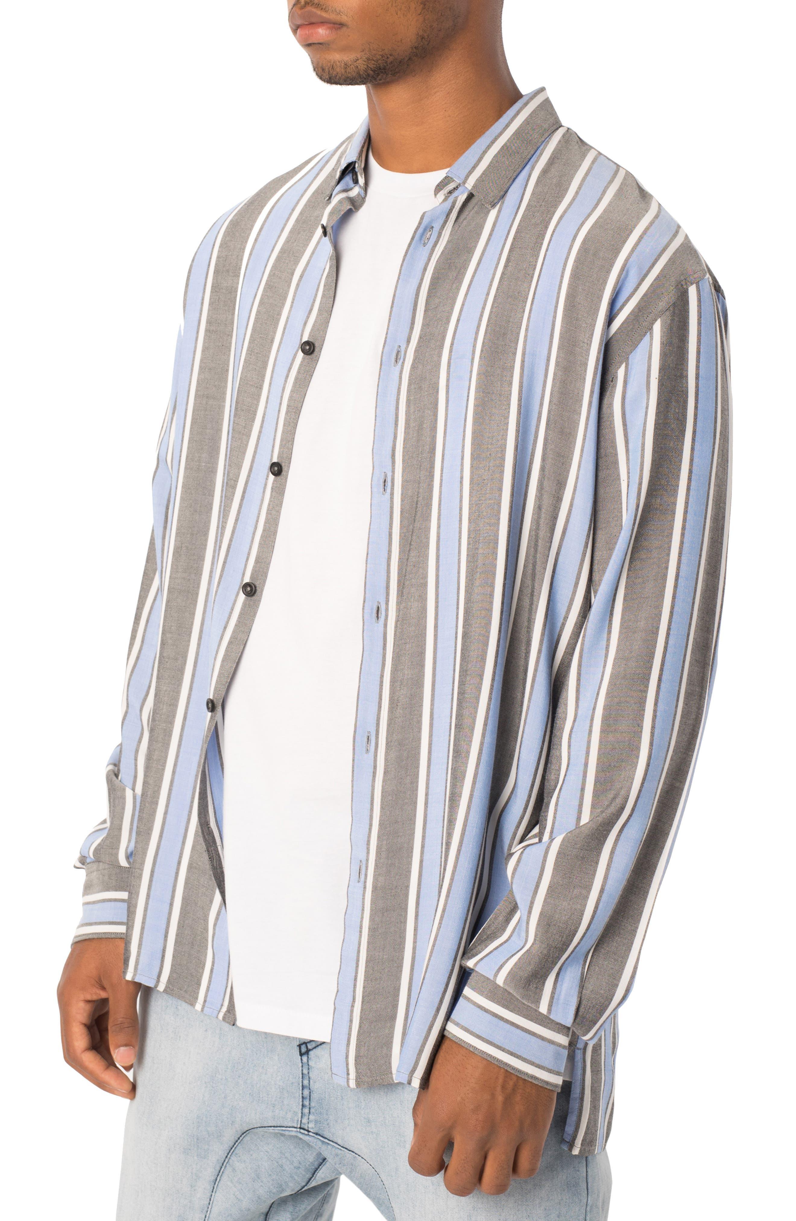 Oversize Stripe Sport Shirt,                             Alternate thumbnail 3, color,                             BLACK/ COBALT