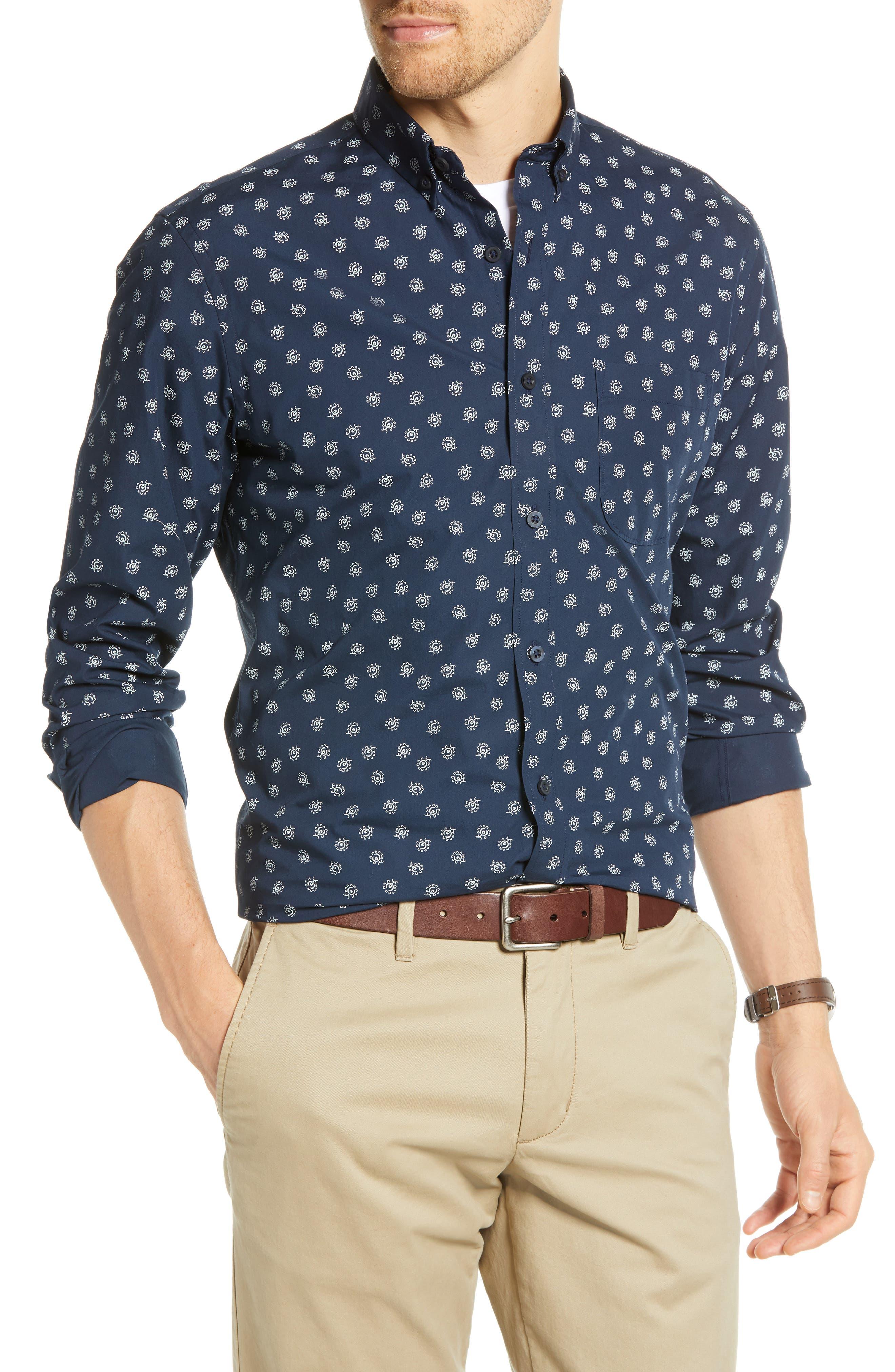 Floral Print Sport Shirt, Main, color, NAVY IRIS FLORAL PRINT
