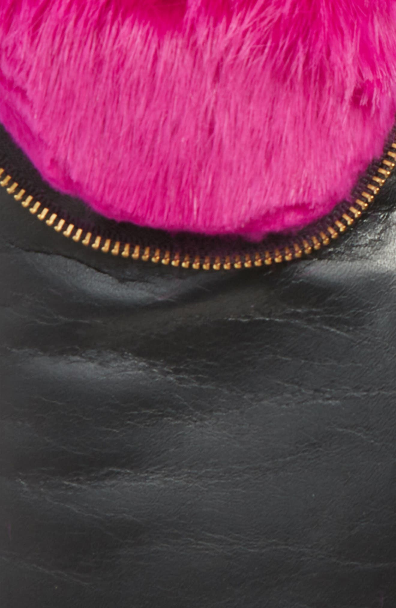 Genuine Rabbit Fur Lined Lambskin Leather Zip Mittens,                             Alternate thumbnail 2, color,                             NOIR/ PINK