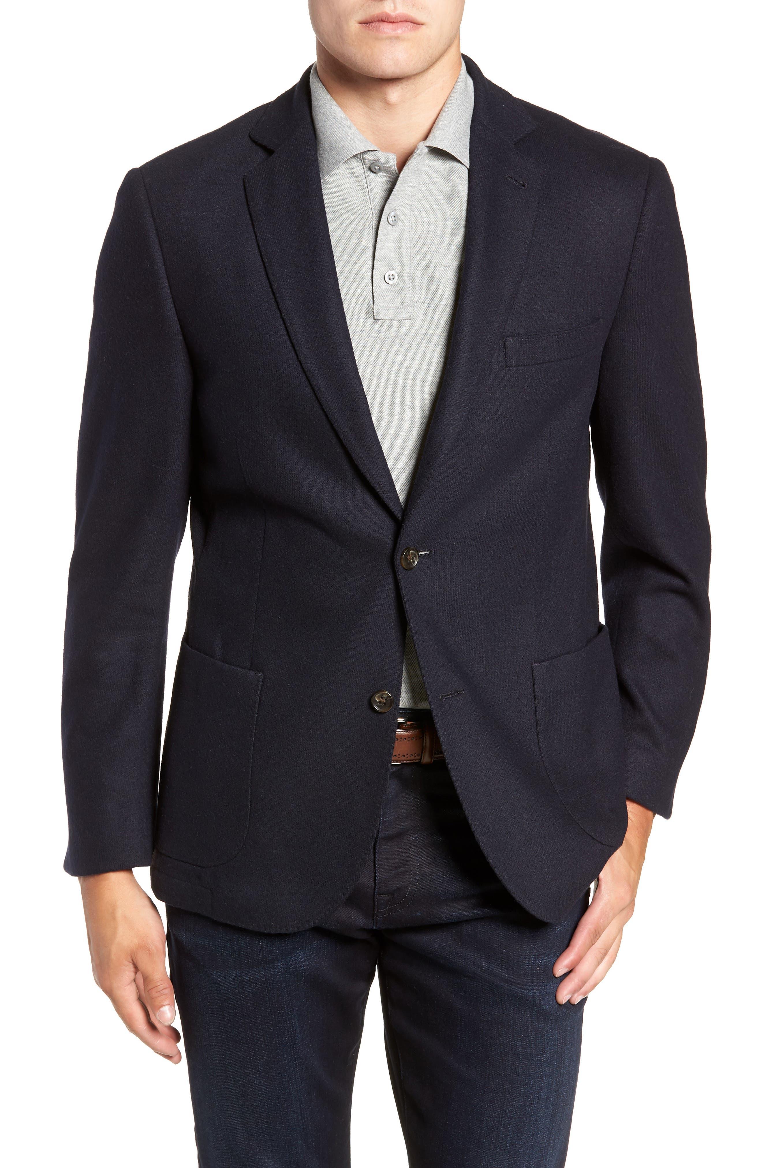 Regular Fit Wool Blend Sport Coat,                             Main thumbnail 1, color,                             NAVY