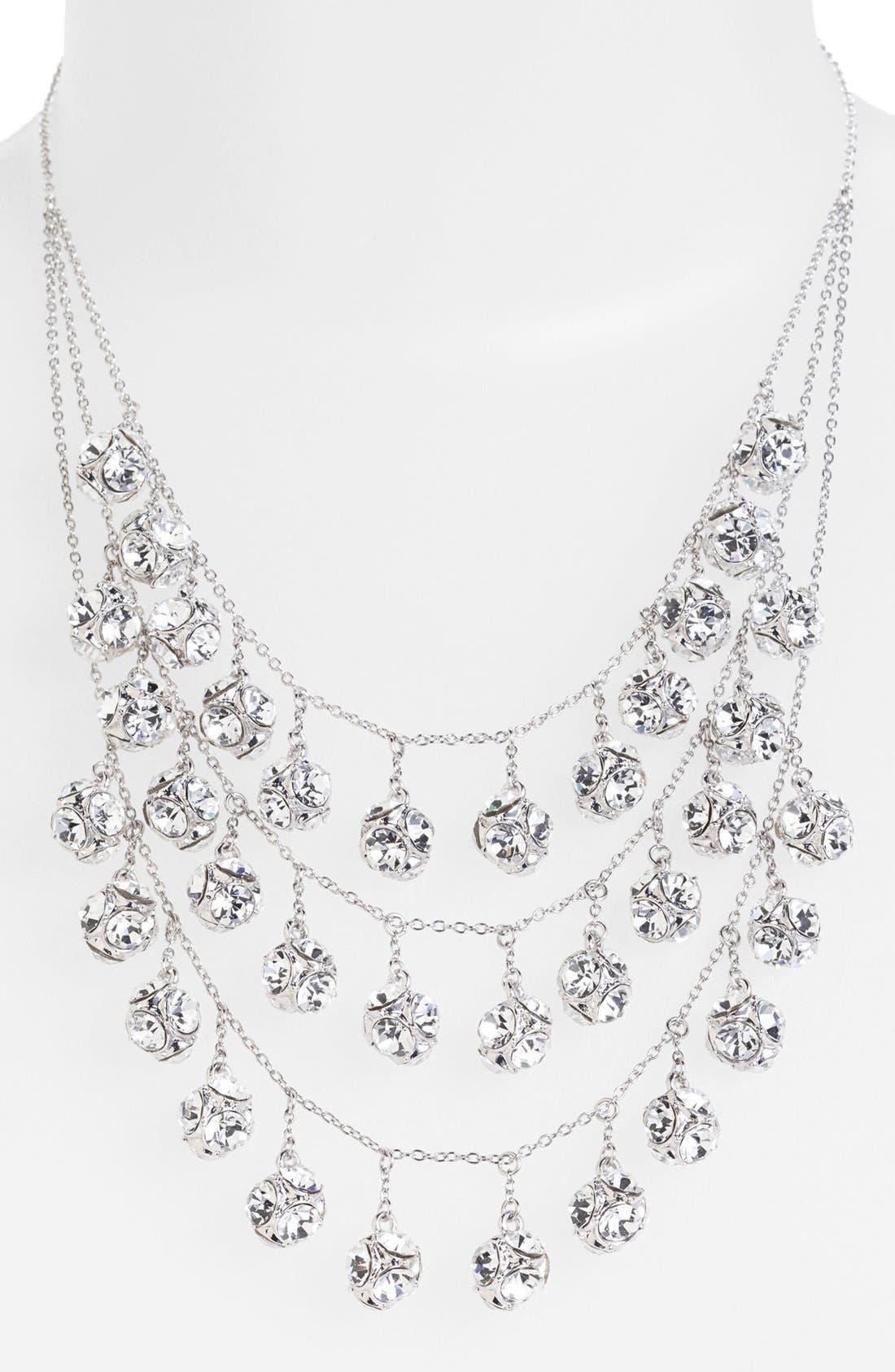 mini fringe bib necklace,                             Alternate thumbnail 3, color,                             040