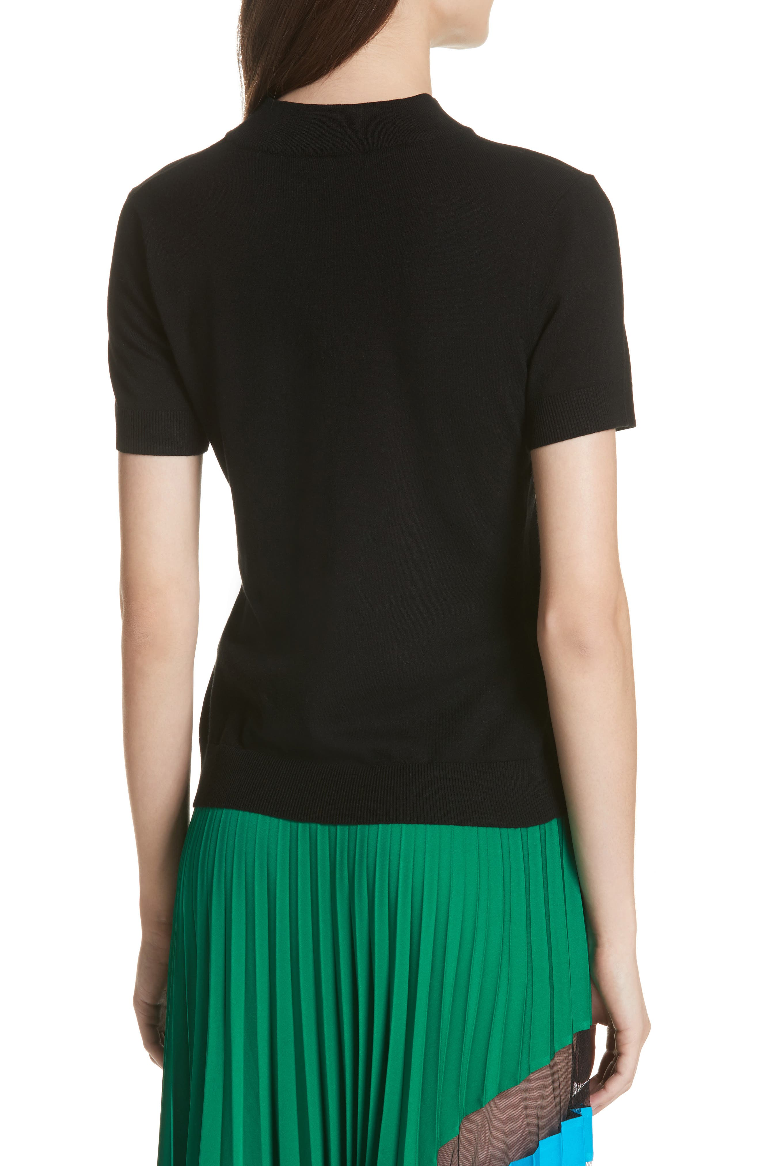 MILLY,                             Mock Neck Tee,                             Alternate thumbnail 2, color,                             001