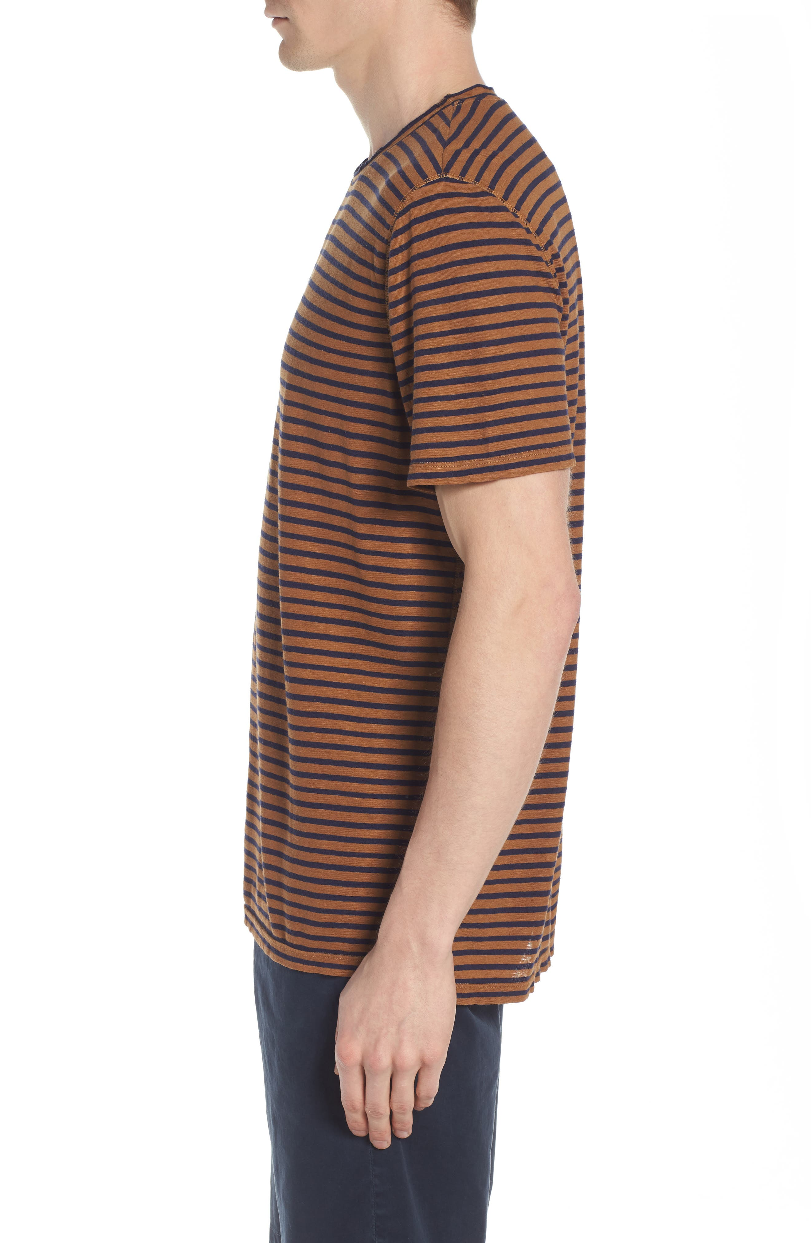 Theo Striped Cotton & Linen T-Shirt,                             Alternate thumbnail 3, color,                             BRONZE CLAY/ NAVY