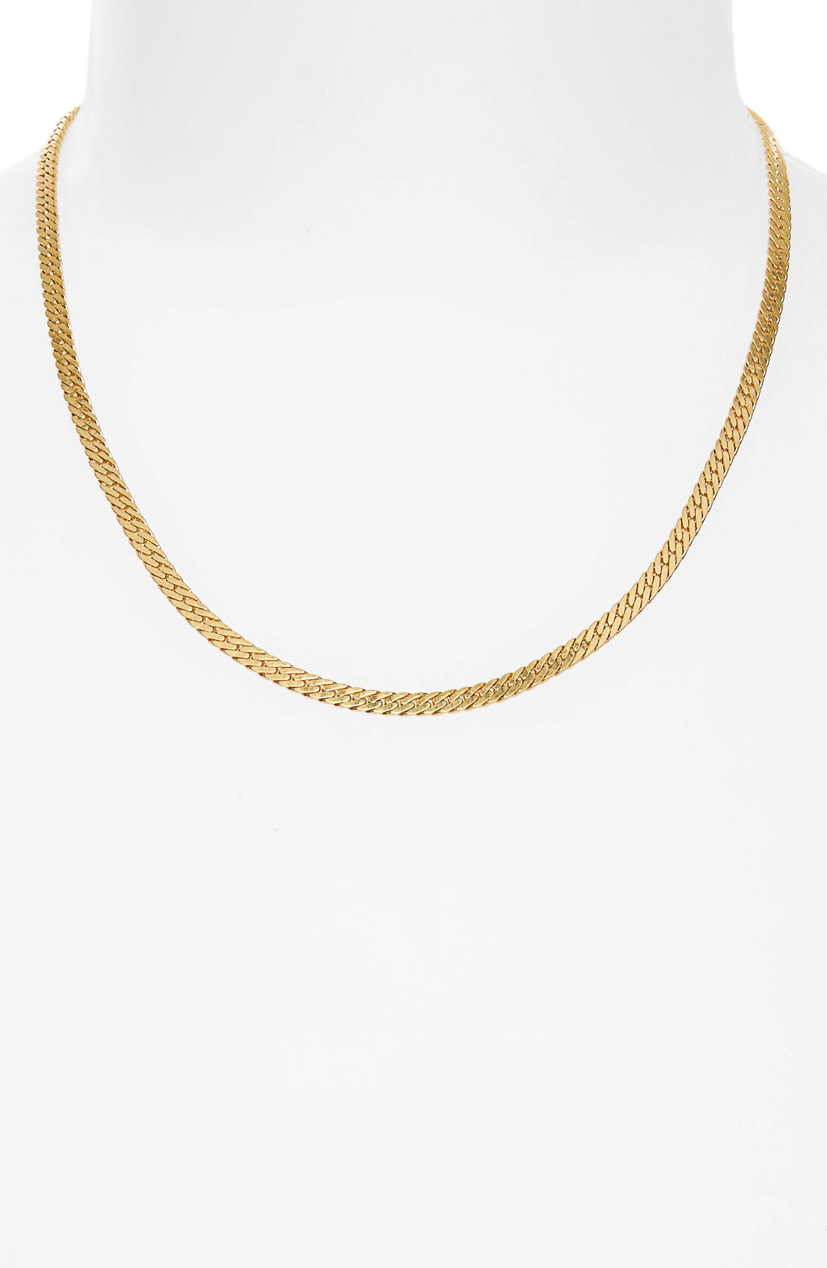 Simple Chain Necklace,                             Alternate thumbnail 2, color,                             VINTAGE GOLD