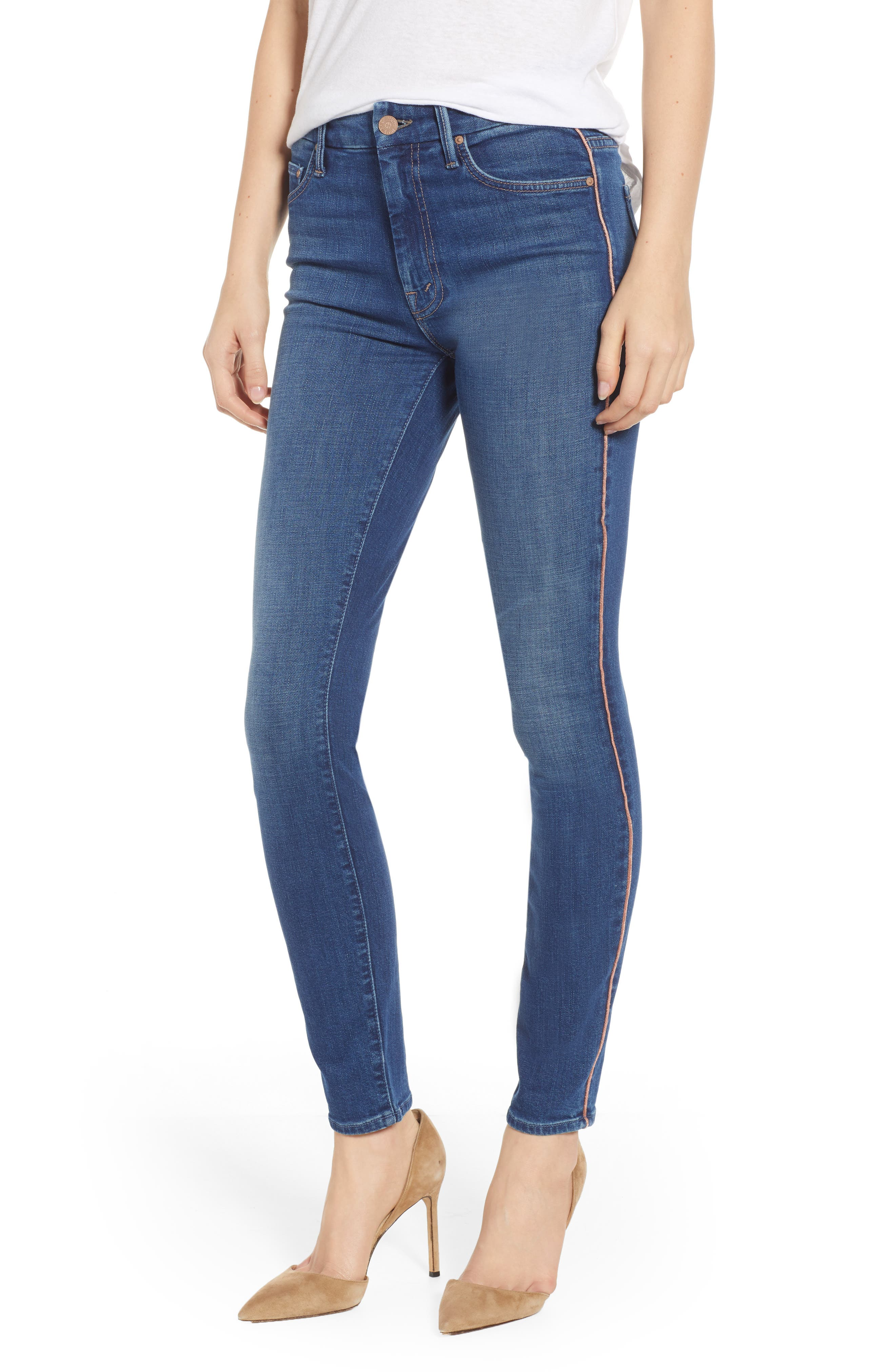 MOTHER Looker High-Rise Piped Skinny Jeans In What I Had Before I Had You