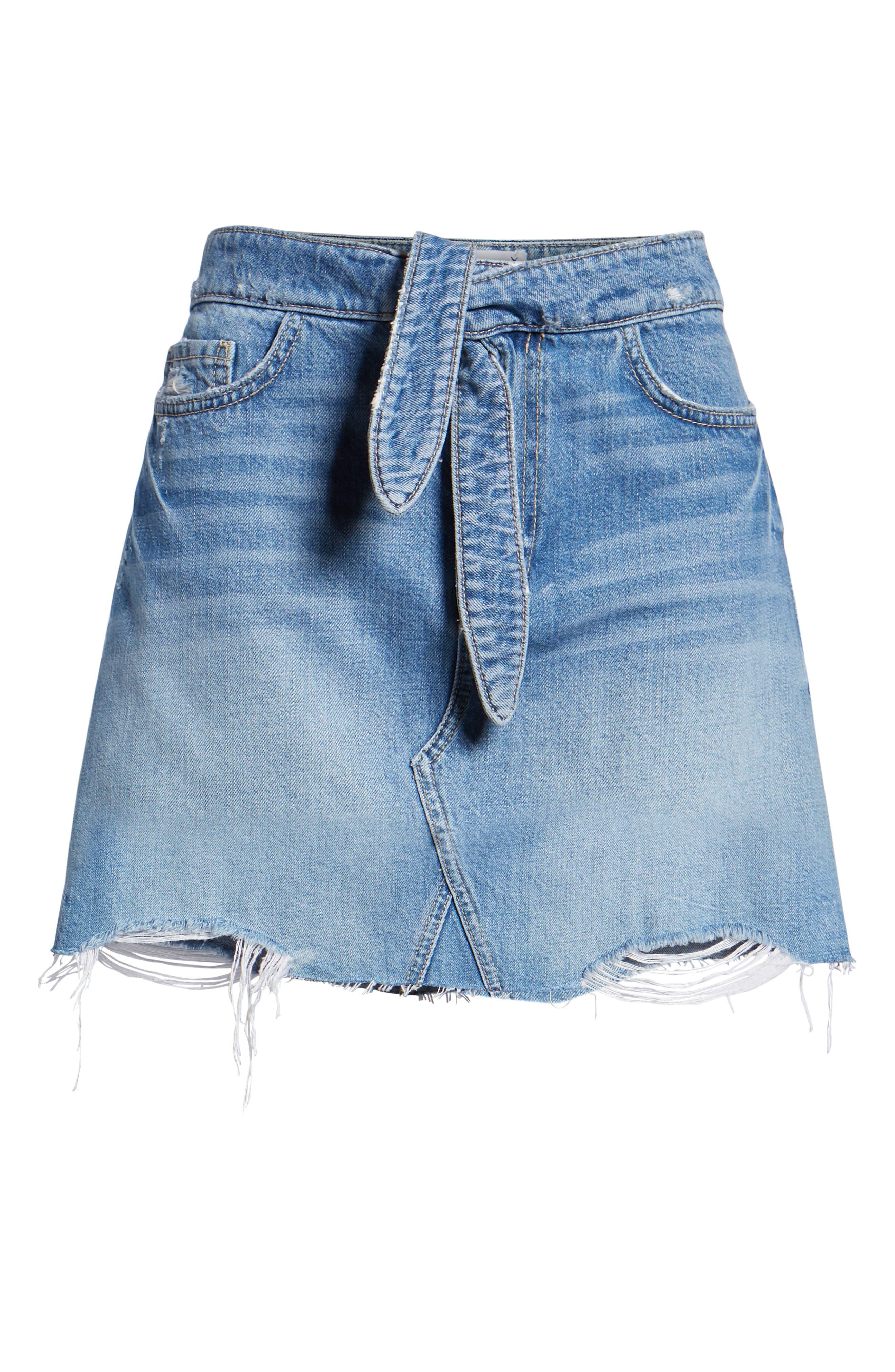 Alethea High Waist Denim Skirt,                             Alternate thumbnail 6, color,