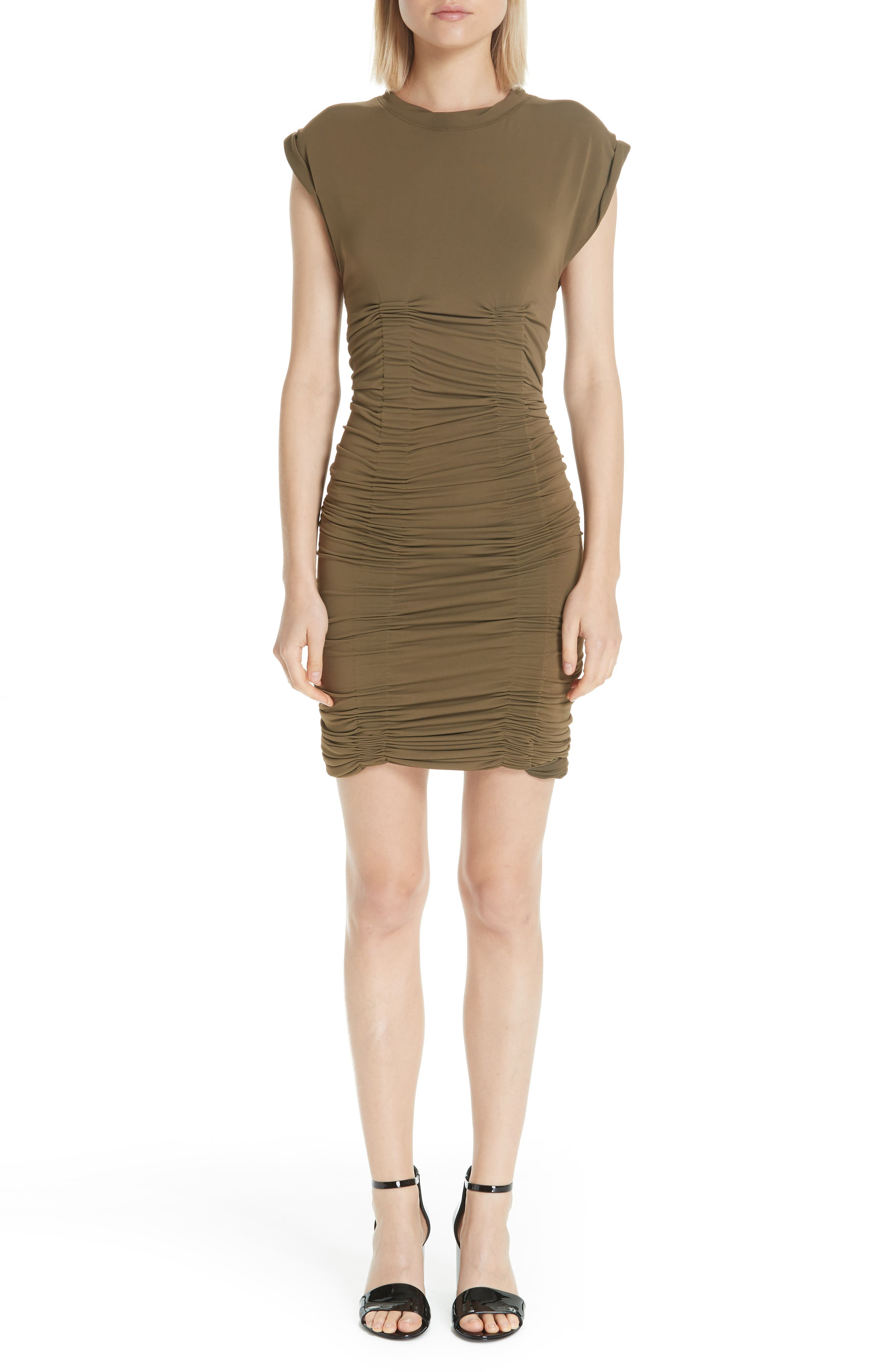 Alexander Wang Ruched Jersey Body-Con Dress, Green