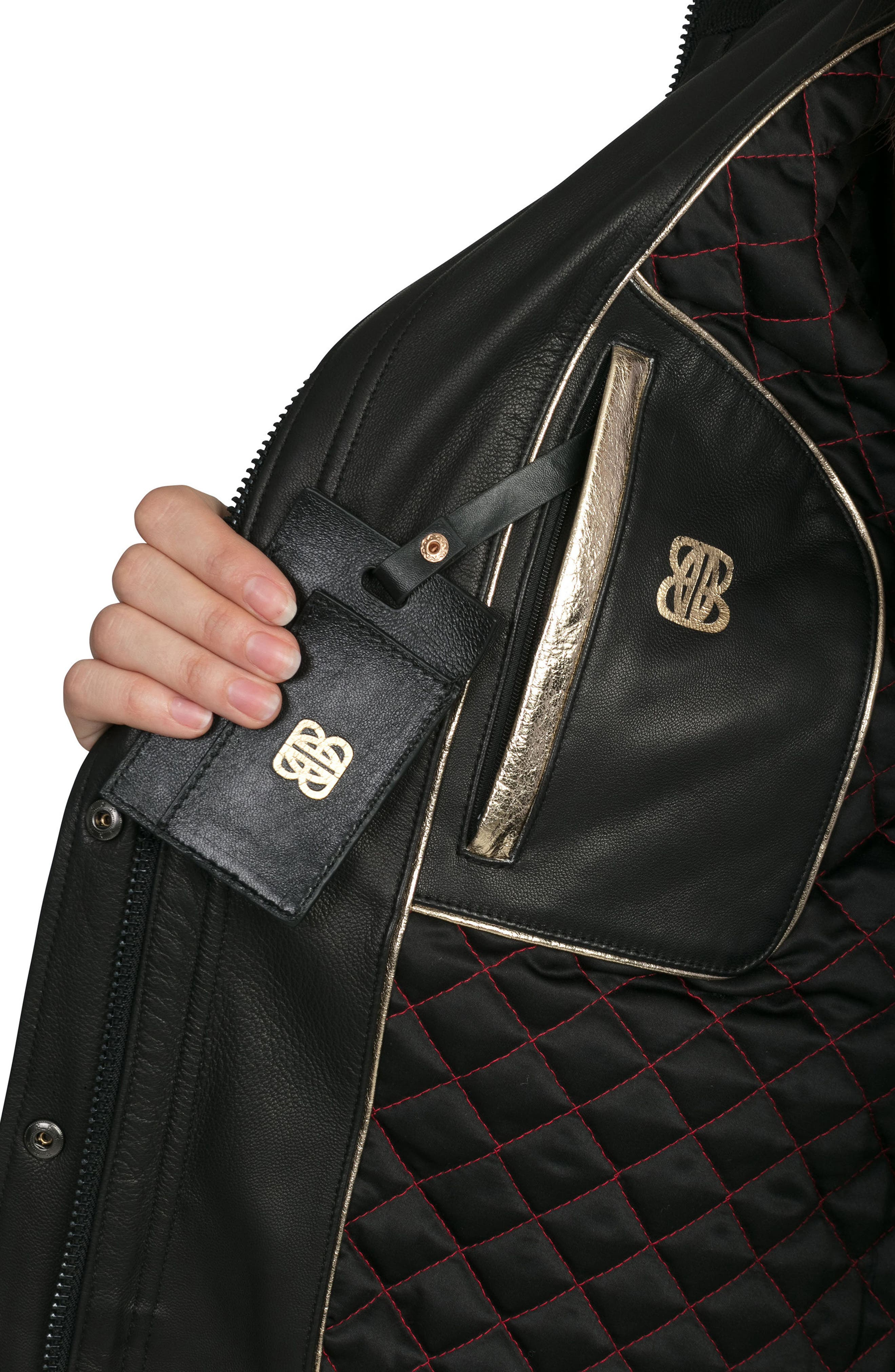 BAGATELLE.CITY The Aspen Leather Jacket with Genuine Fox Fur Trim,                             Alternate thumbnail 4, color,                             001