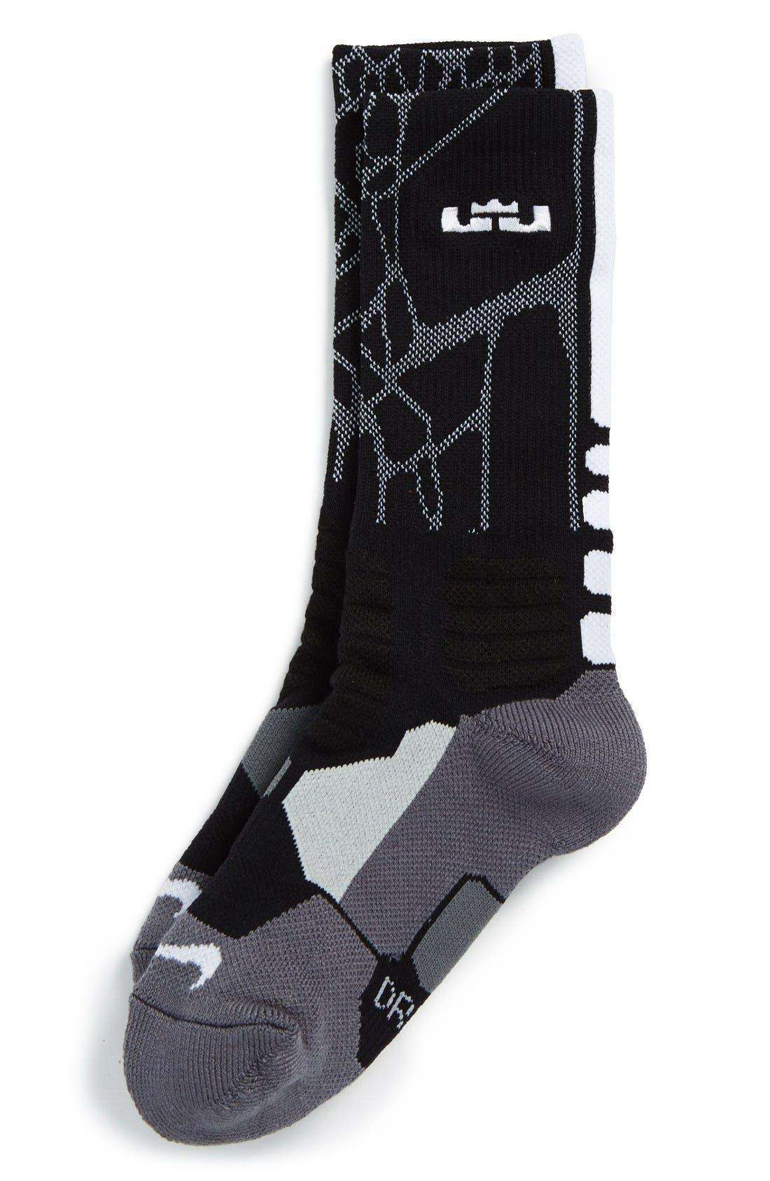 'LeBron - Hyper Elite' Cushioned Basketball Crew Socks, Main, color, 001