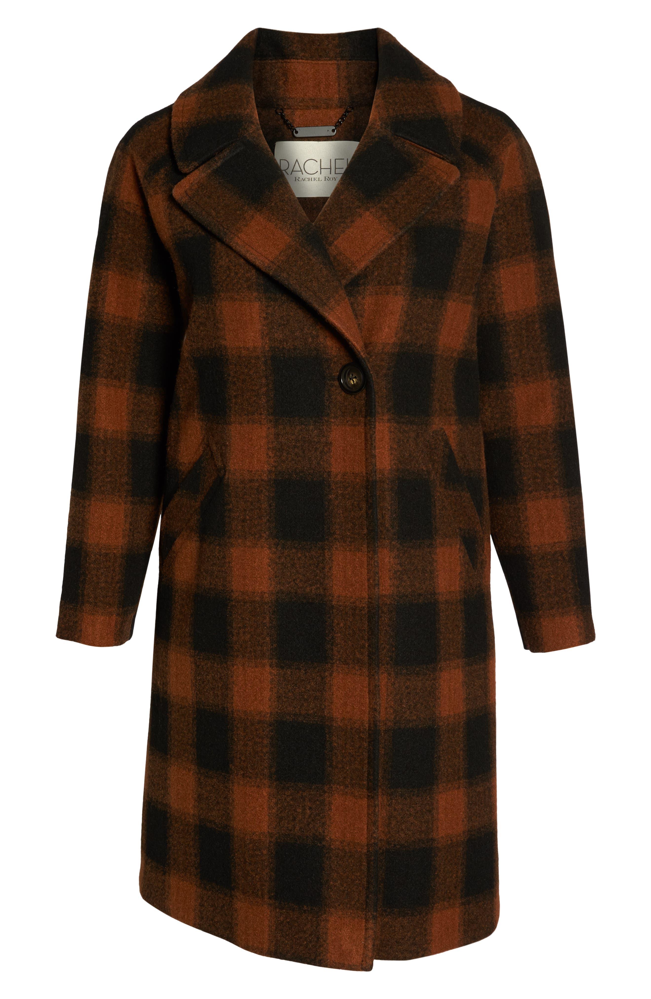 Oversize Boiled Wool Coat,                             Alternate thumbnail 5, color,                             PLAID