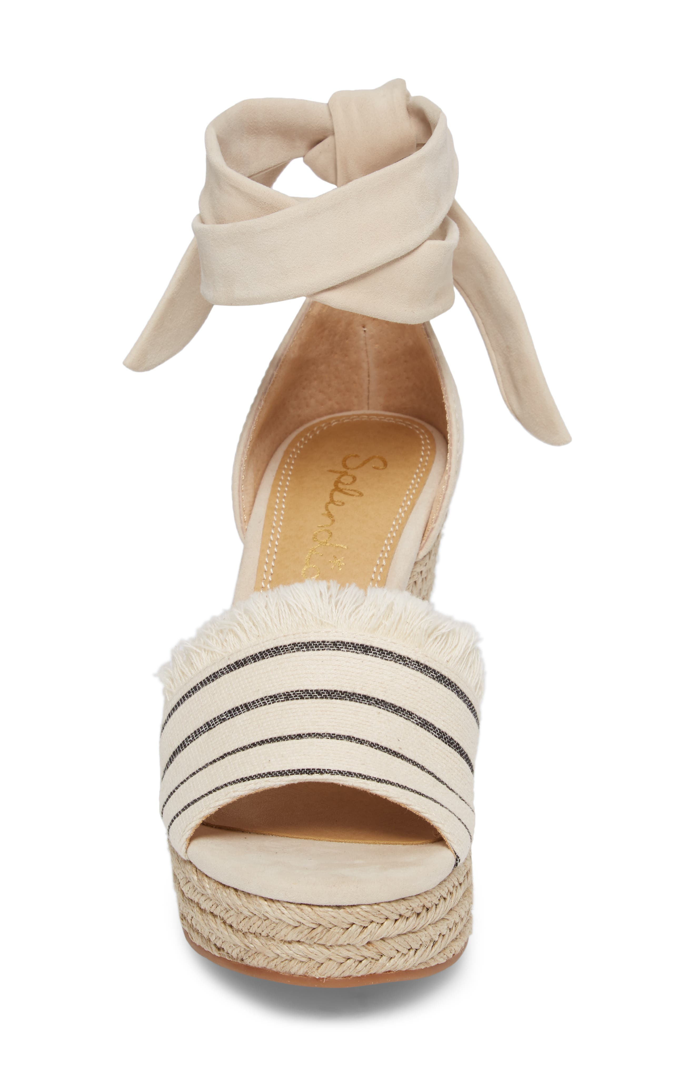 Barke Fringed Platform Wedge Sandal,                             Alternate thumbnail 4, color,                             100