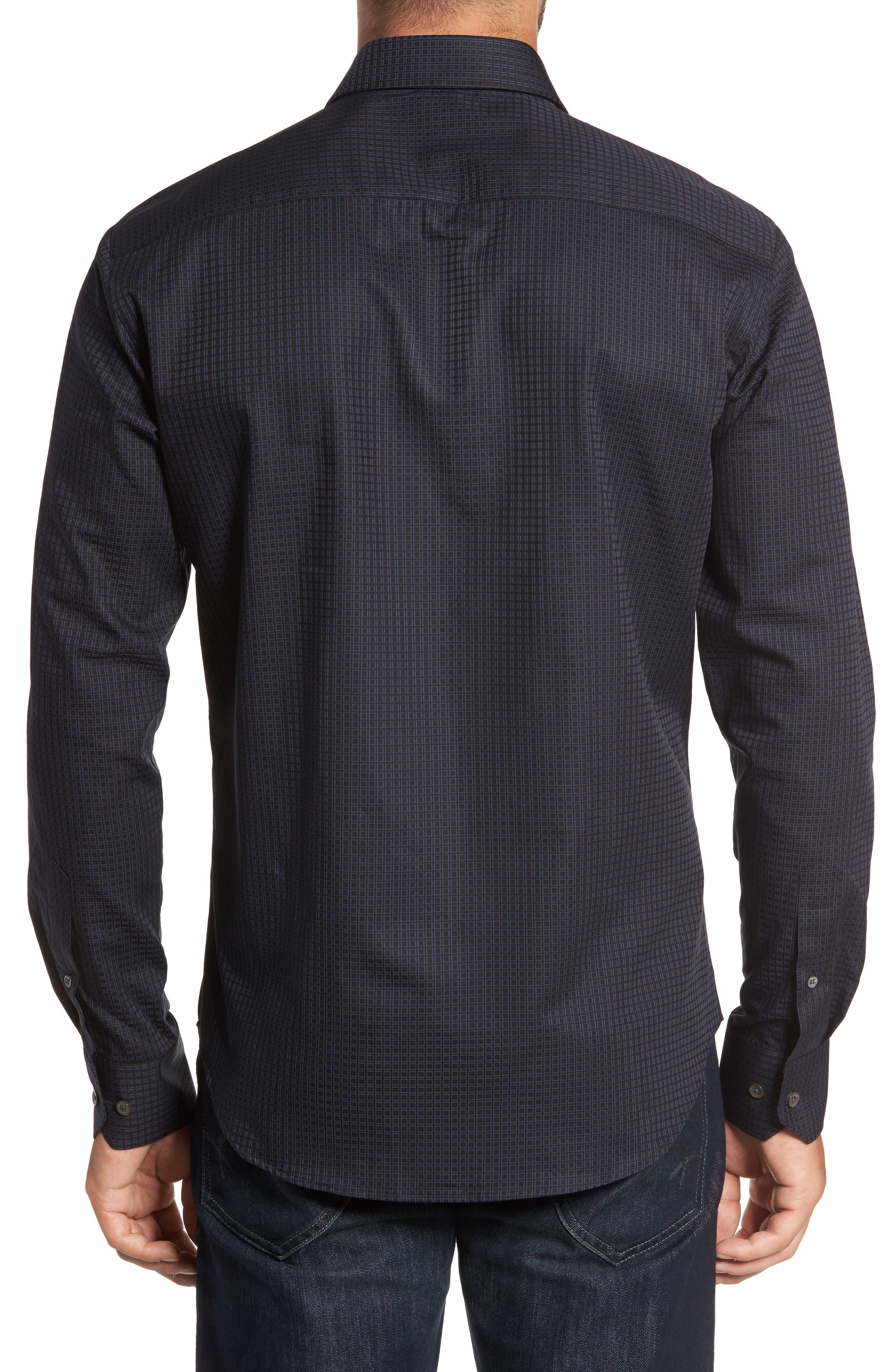 Trim Fit Box Print Sport Shirt,                             Alternate thumbnail 2, color,