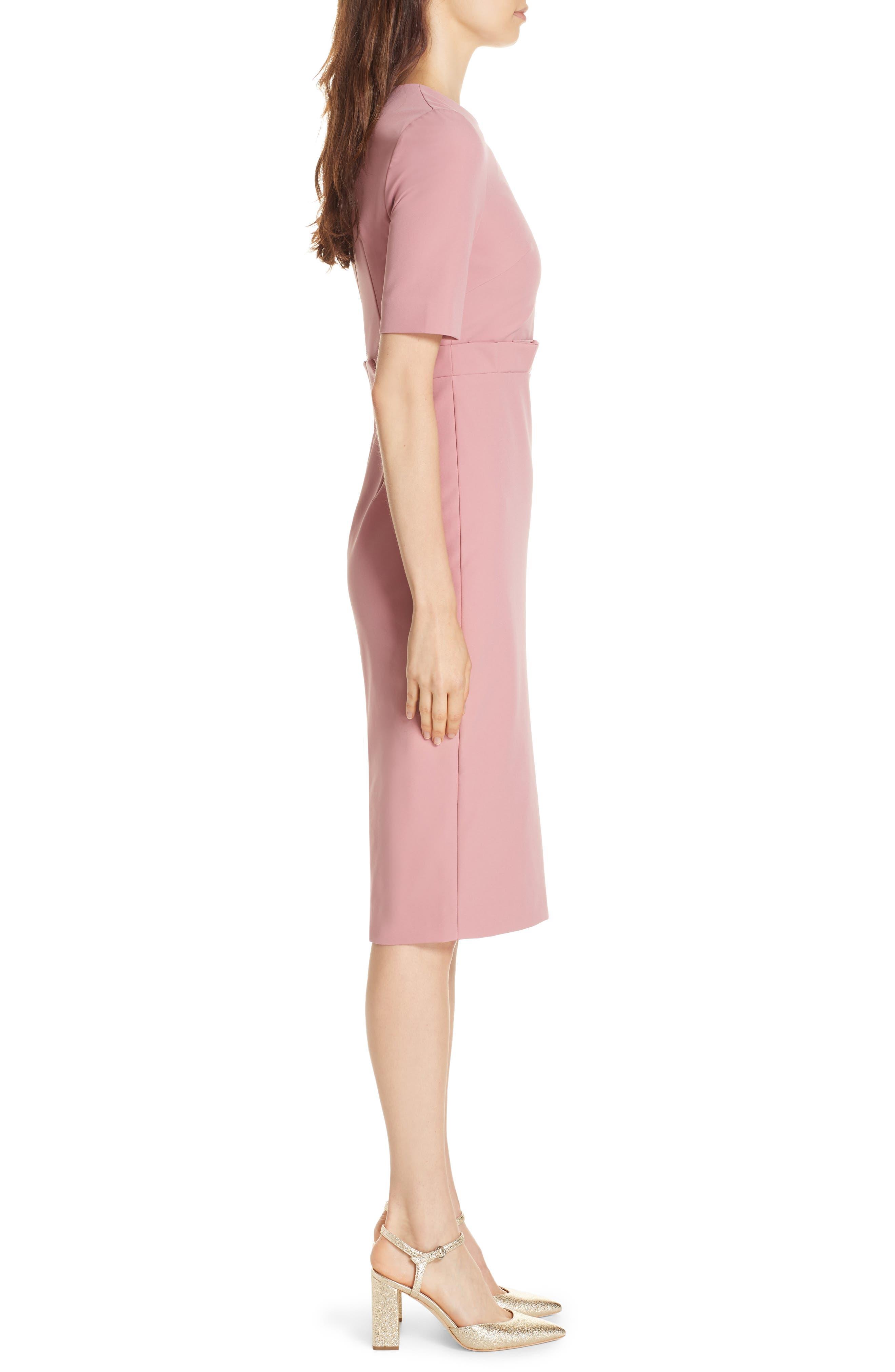 Maggidd Ruffle Waist Pencil Dress,                             Alternate thumbnail 3, color,                             953