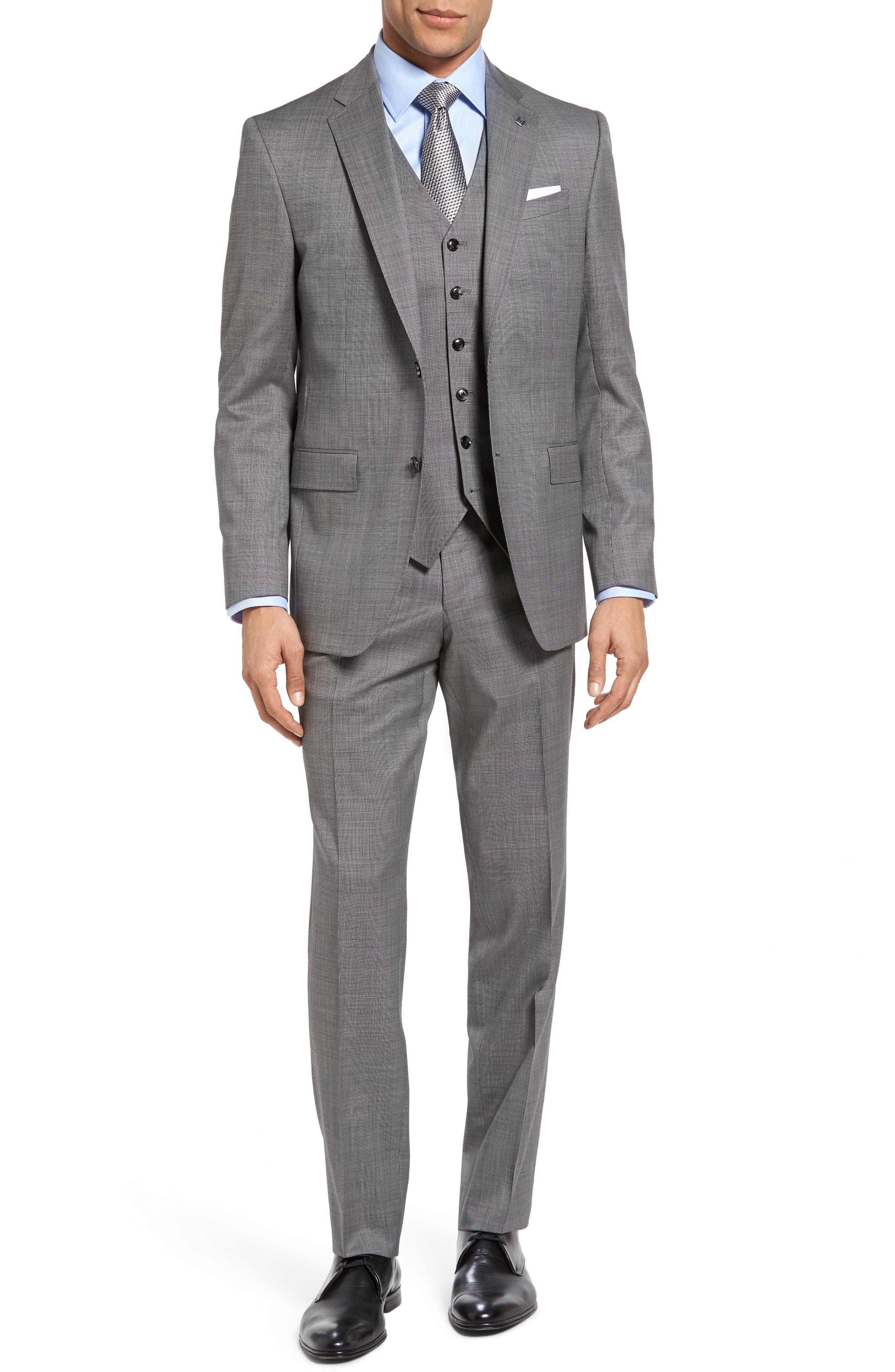 Jay Trim Fit Solid Wool Suit,                             Alternate thumbnail 2, color,                             LIGHT GREY