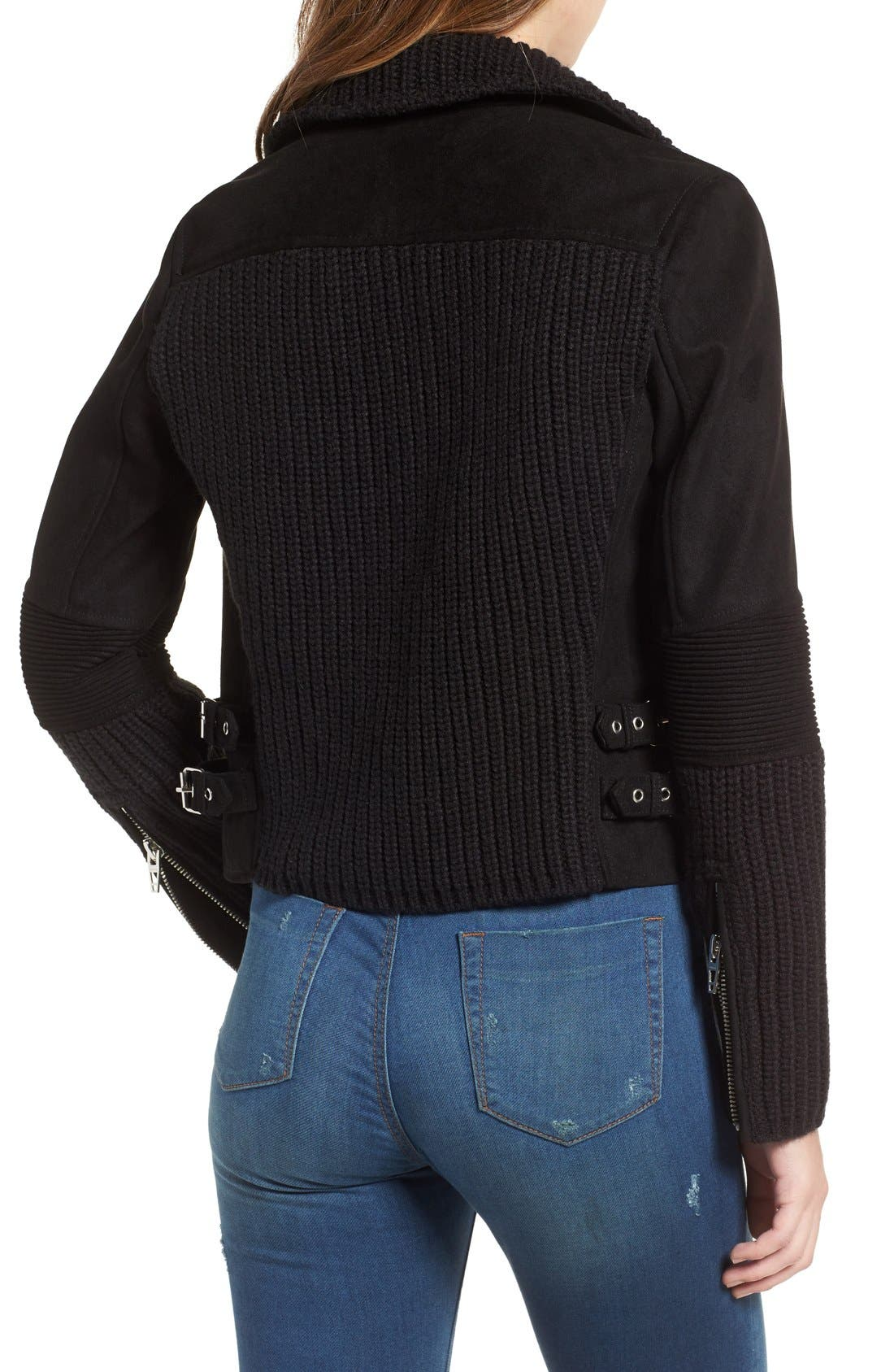 BLANKNYC,                             Faux Suede & Knit Moto Jacket,                             Alternate thumbnail 4, color,                             001