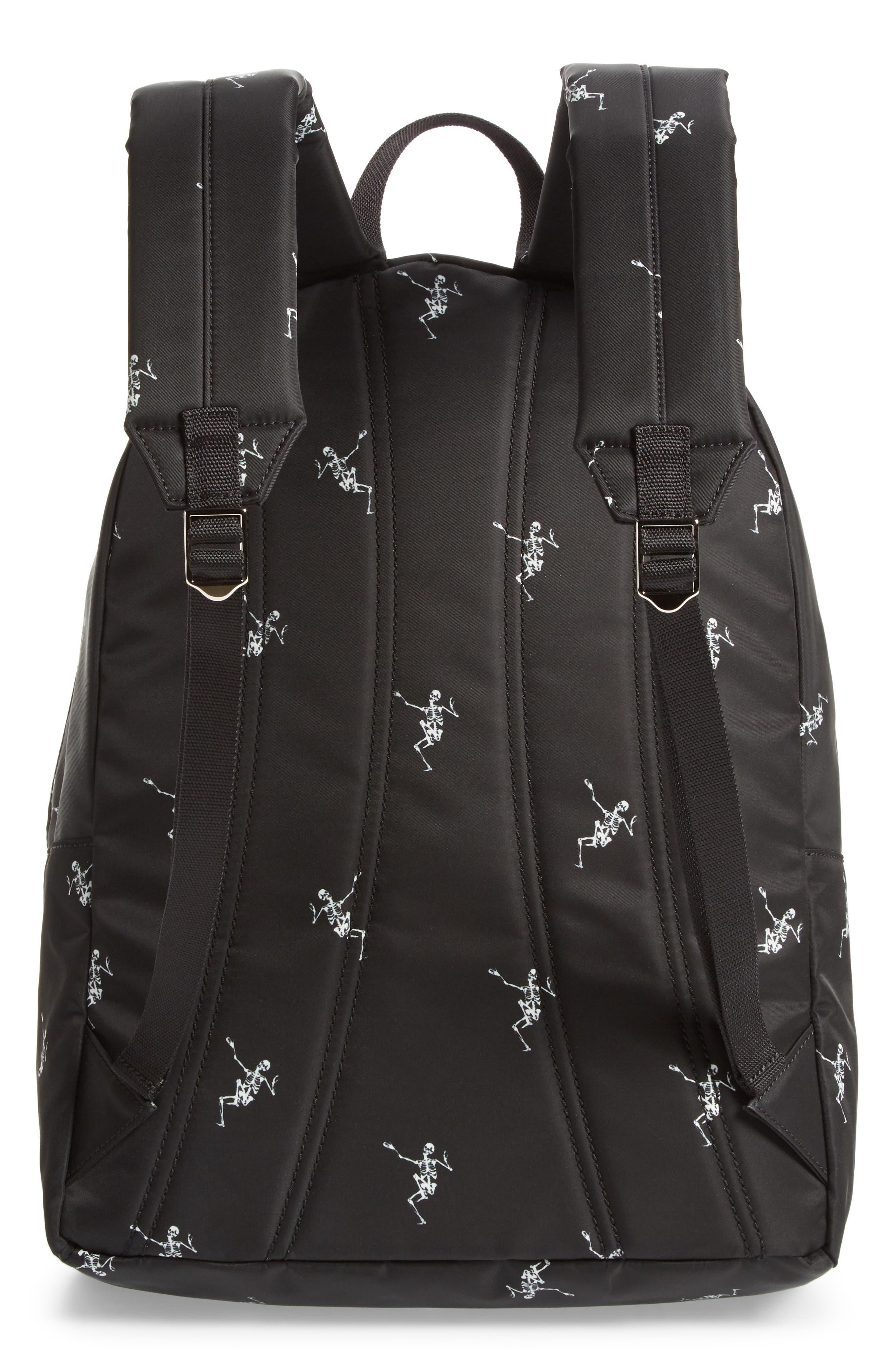 Dancing Skeleton Backpack,                             Alternate thumbnail 3, color,                             BLACK/ OFF WHITE