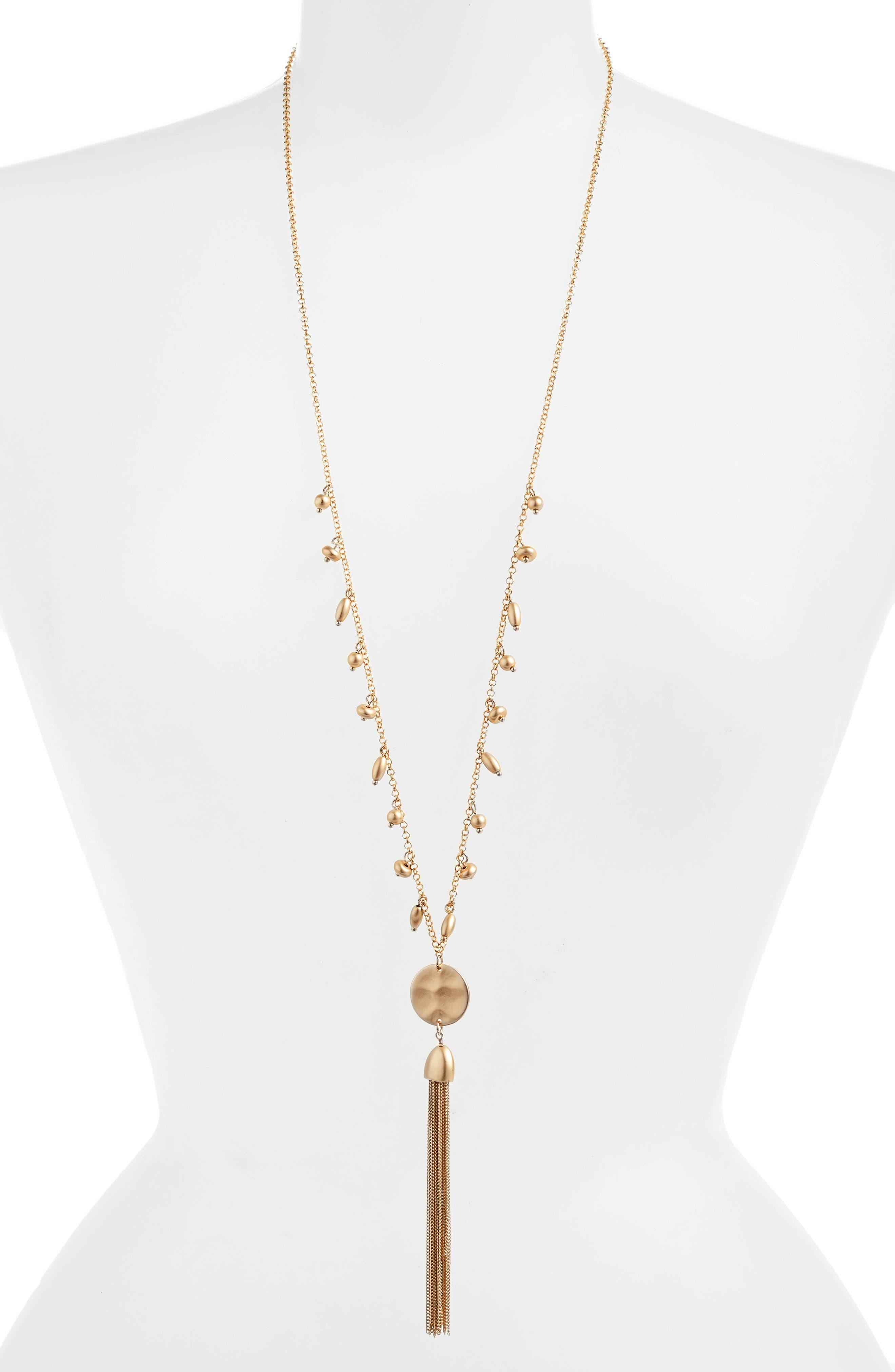 Disc Tassel Pendant Necklace,                         Main,                         color, 710