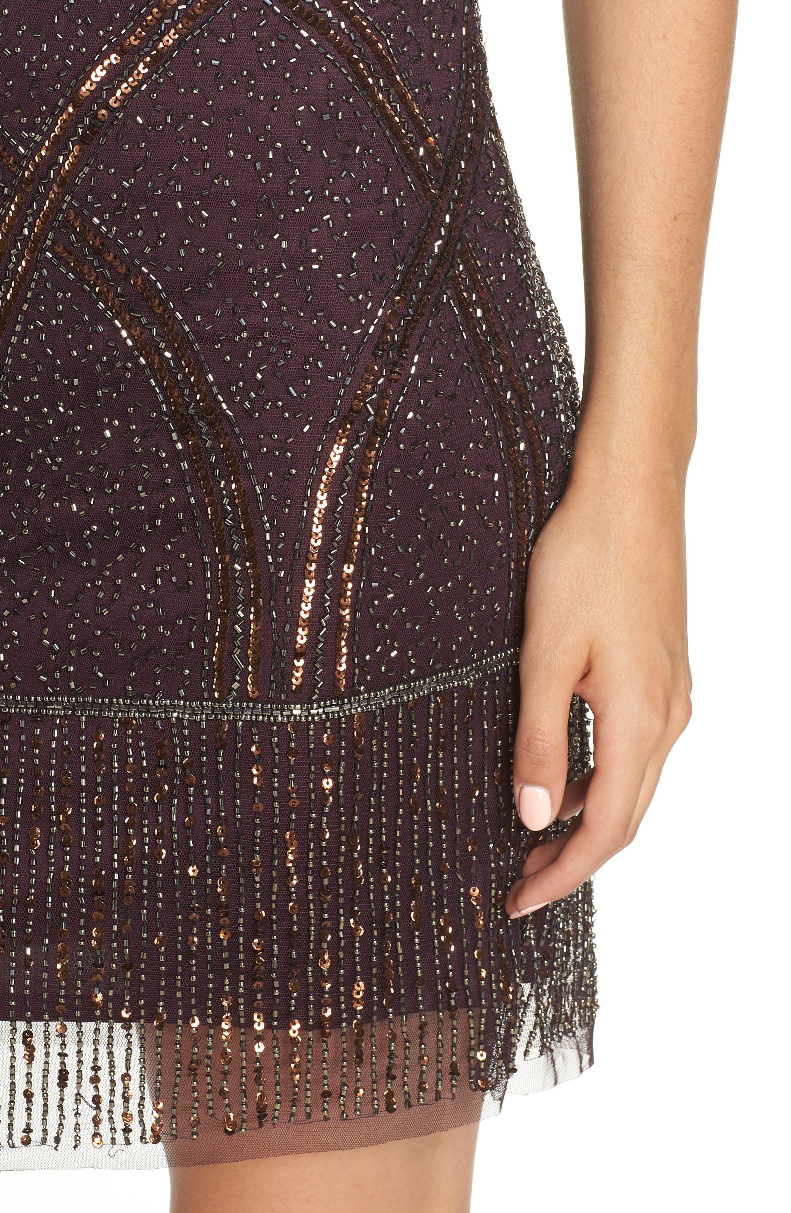 Beaded Fringe Hem Sheath Dress,                             Alternate thumbnail 4, color,                             WINE
