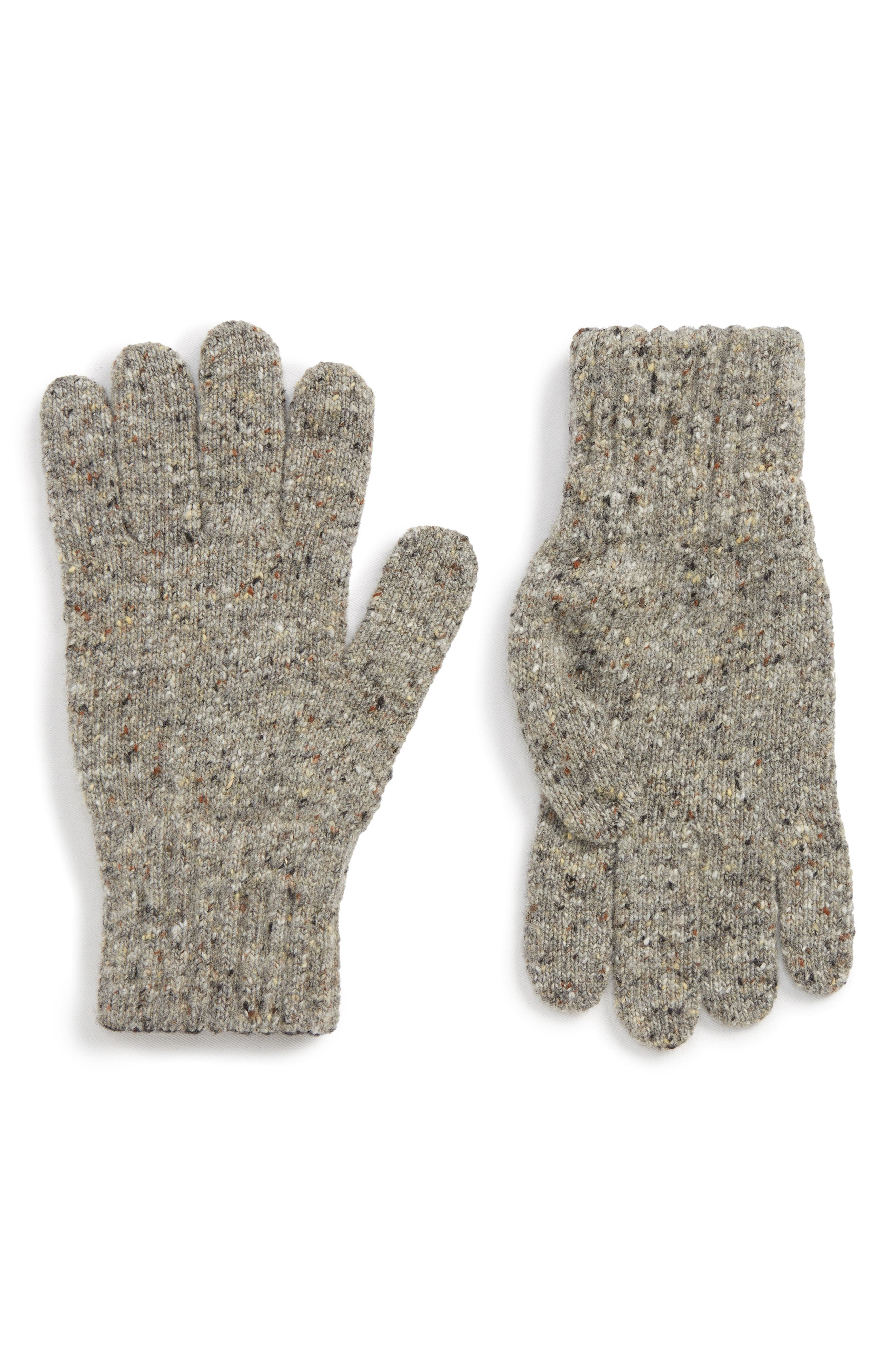 Donegal Wool Gloves,                         Main,                         color, GREY