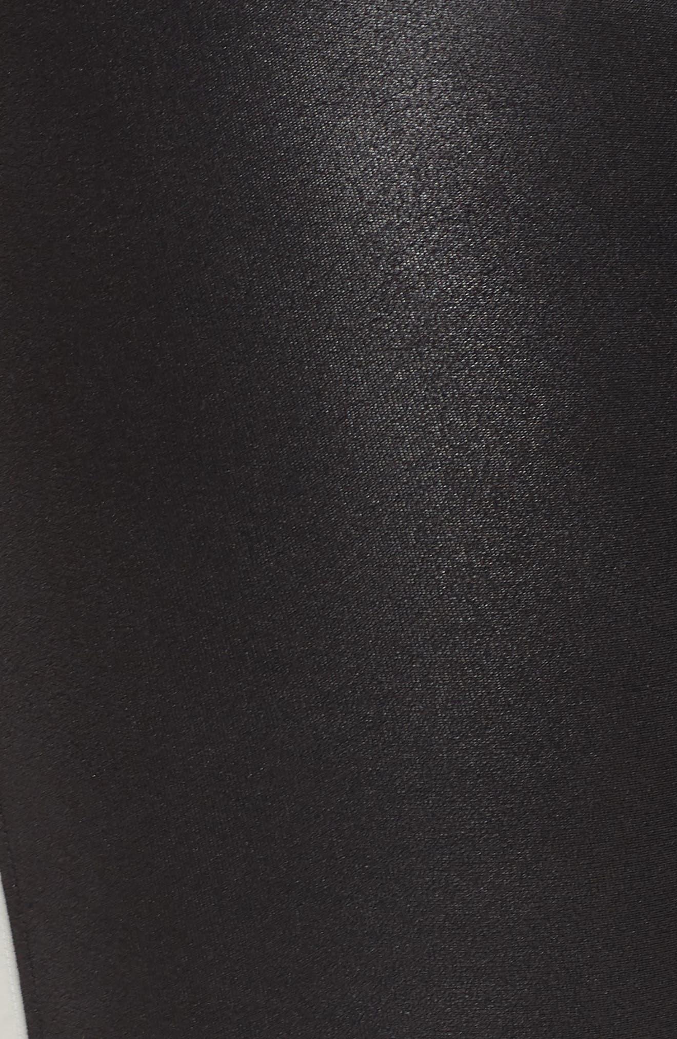 Side Stripe Faux Leather Leggings,                             Alternate thumbnail 6, color,                             VERY BLACK/WHT