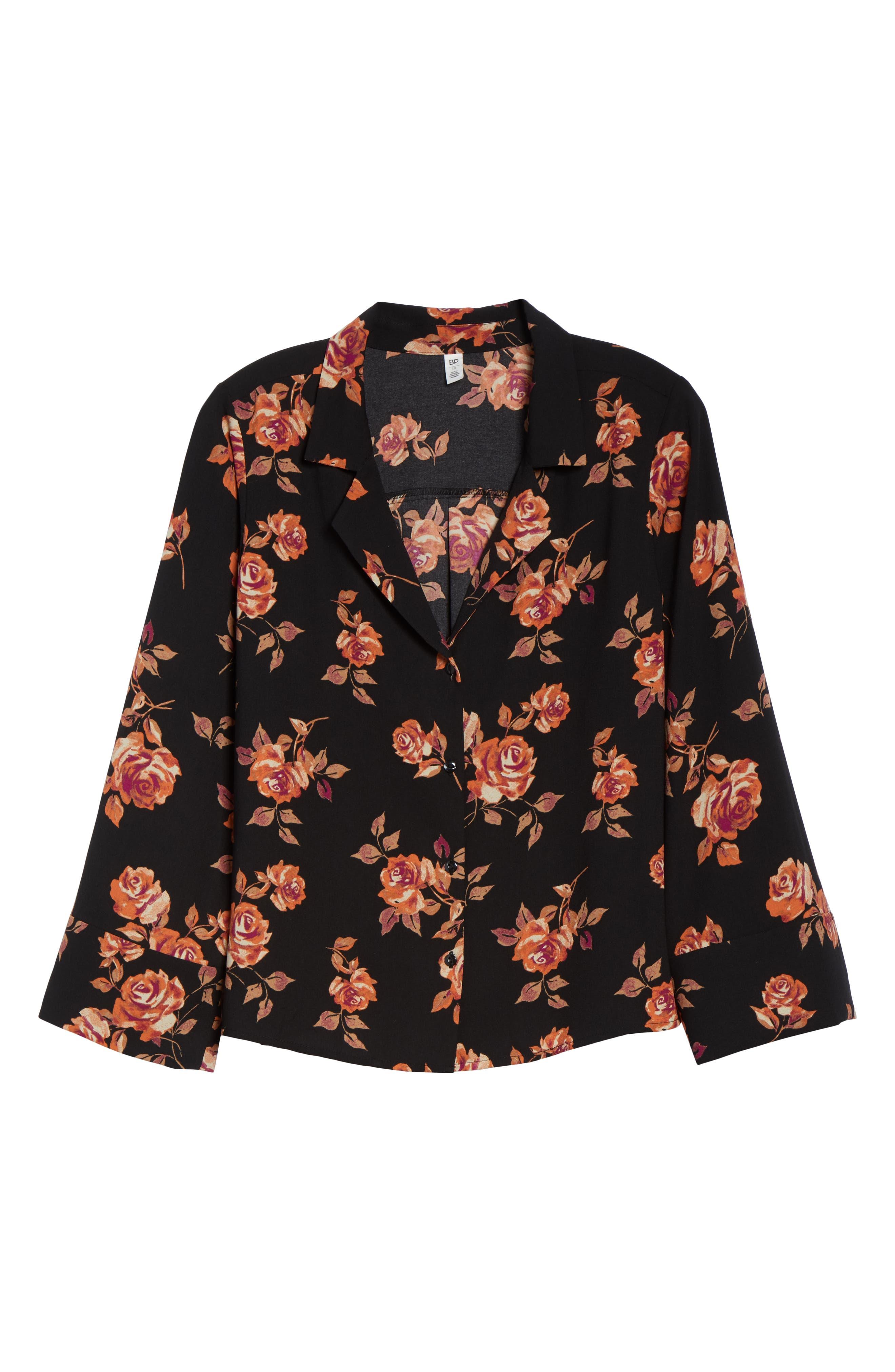 Notched Collar Floral Print Shirt,                             Alternate thumbnail 6, color,                             BLACK POP FLORAL
