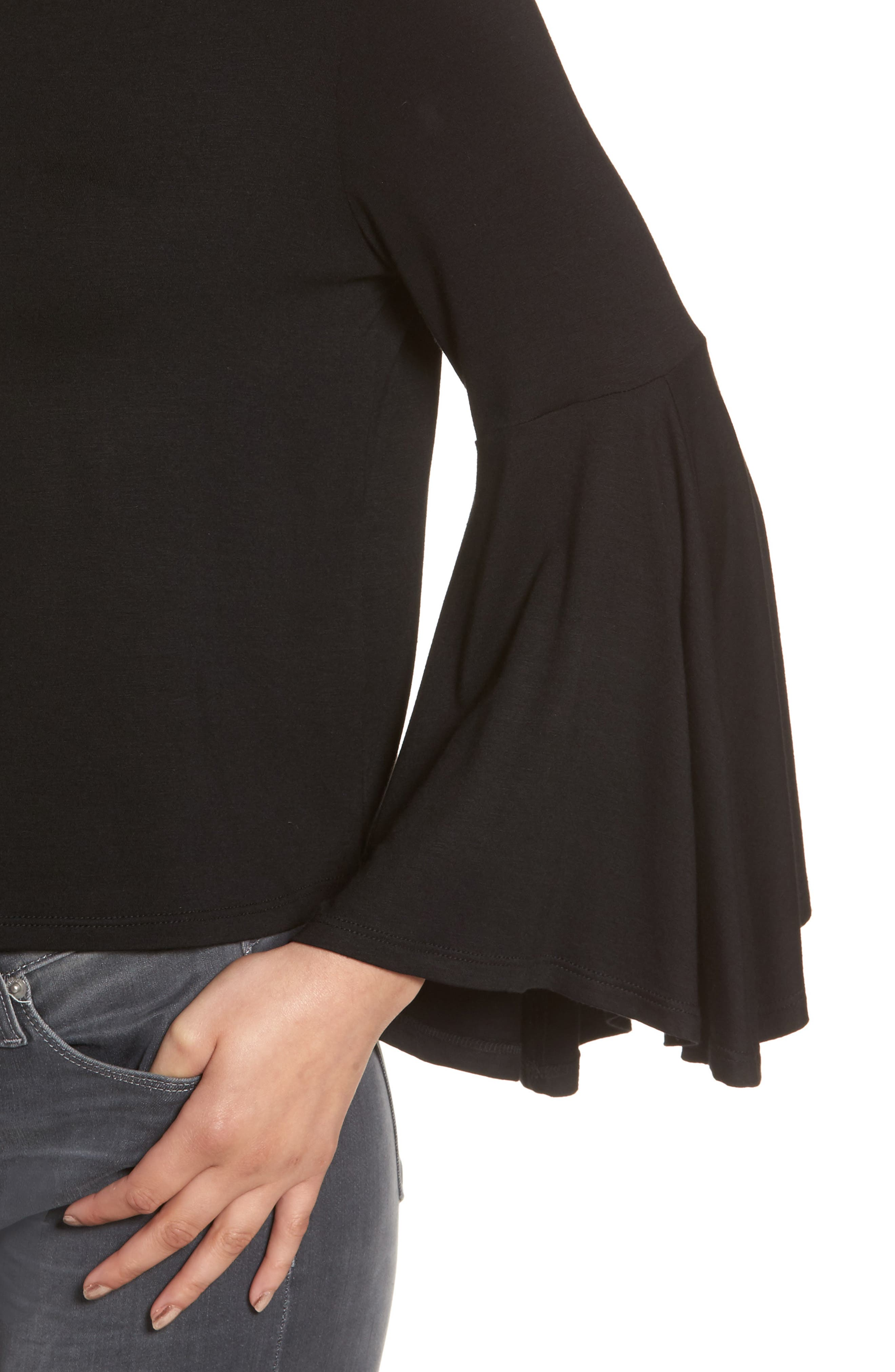 Bella Bell Sleeve Top,                             Alternate thumbnail 4, color,                             001