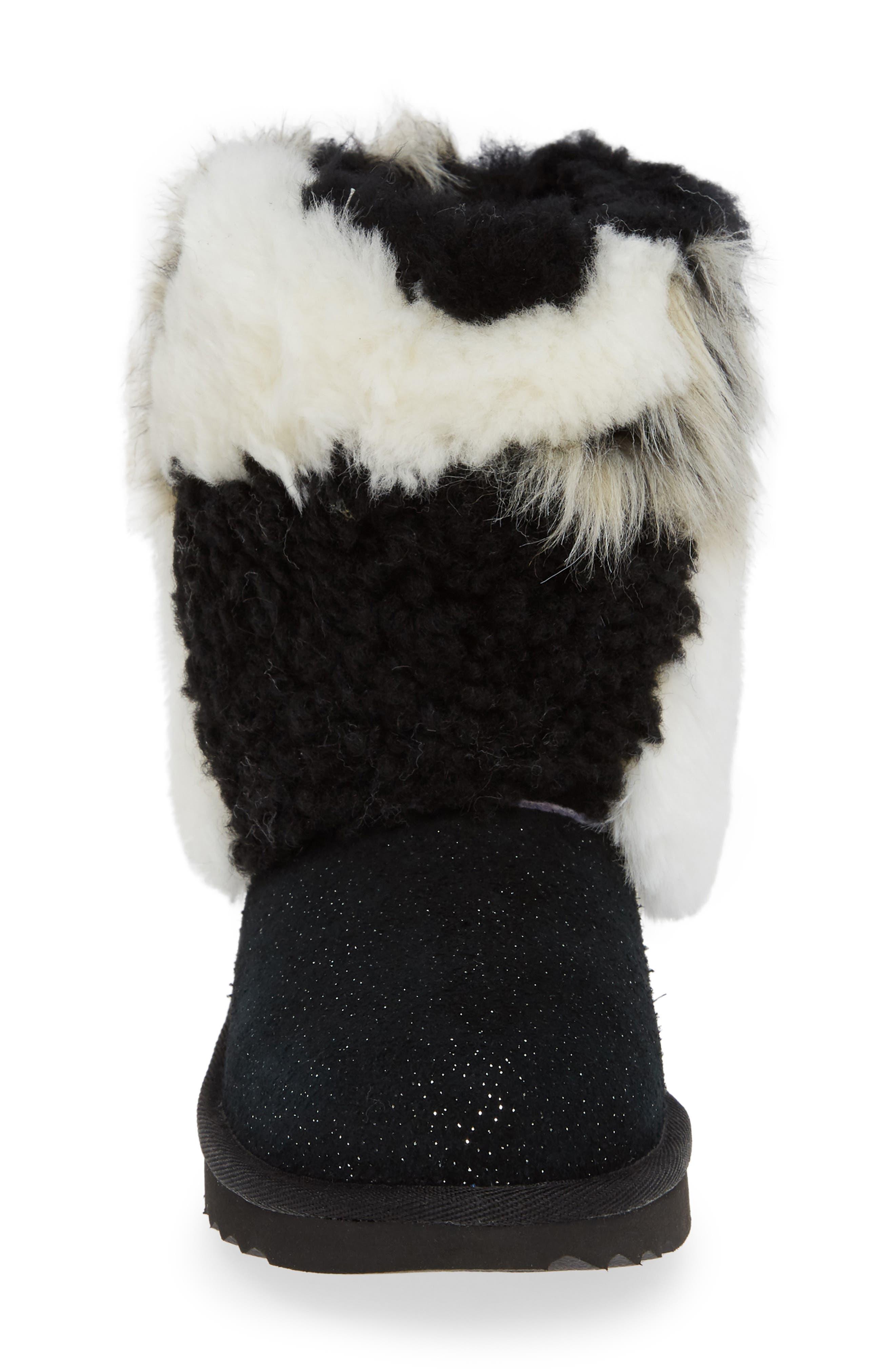 Classic Short Genuine Shearling & Faux Fur Patchwork Boot,                             Alternate thumbnail 4, color,                             001