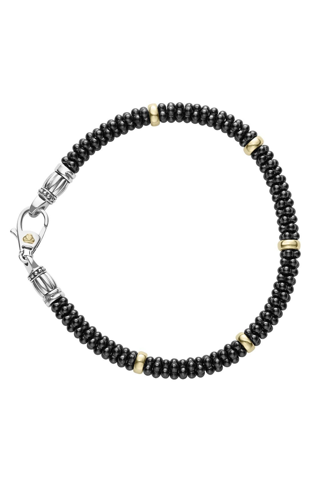 'Caviar Gold' Bracelet,                             Alternate thumbnail 3, color,                             BLACK/ GOLD
