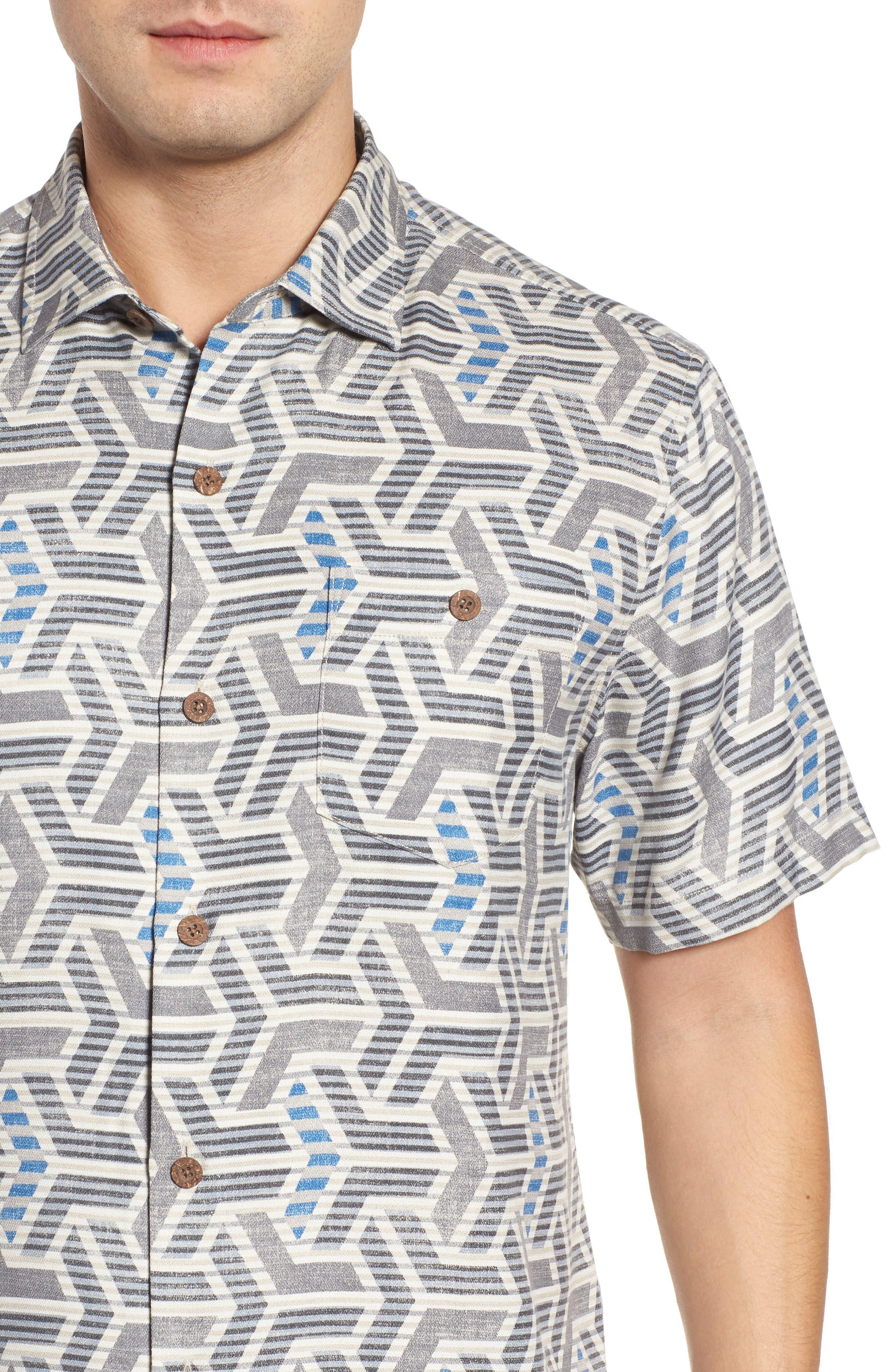 Wellington Geometric Print Sport Shirt,                             Alternate thumbnail 4, color,