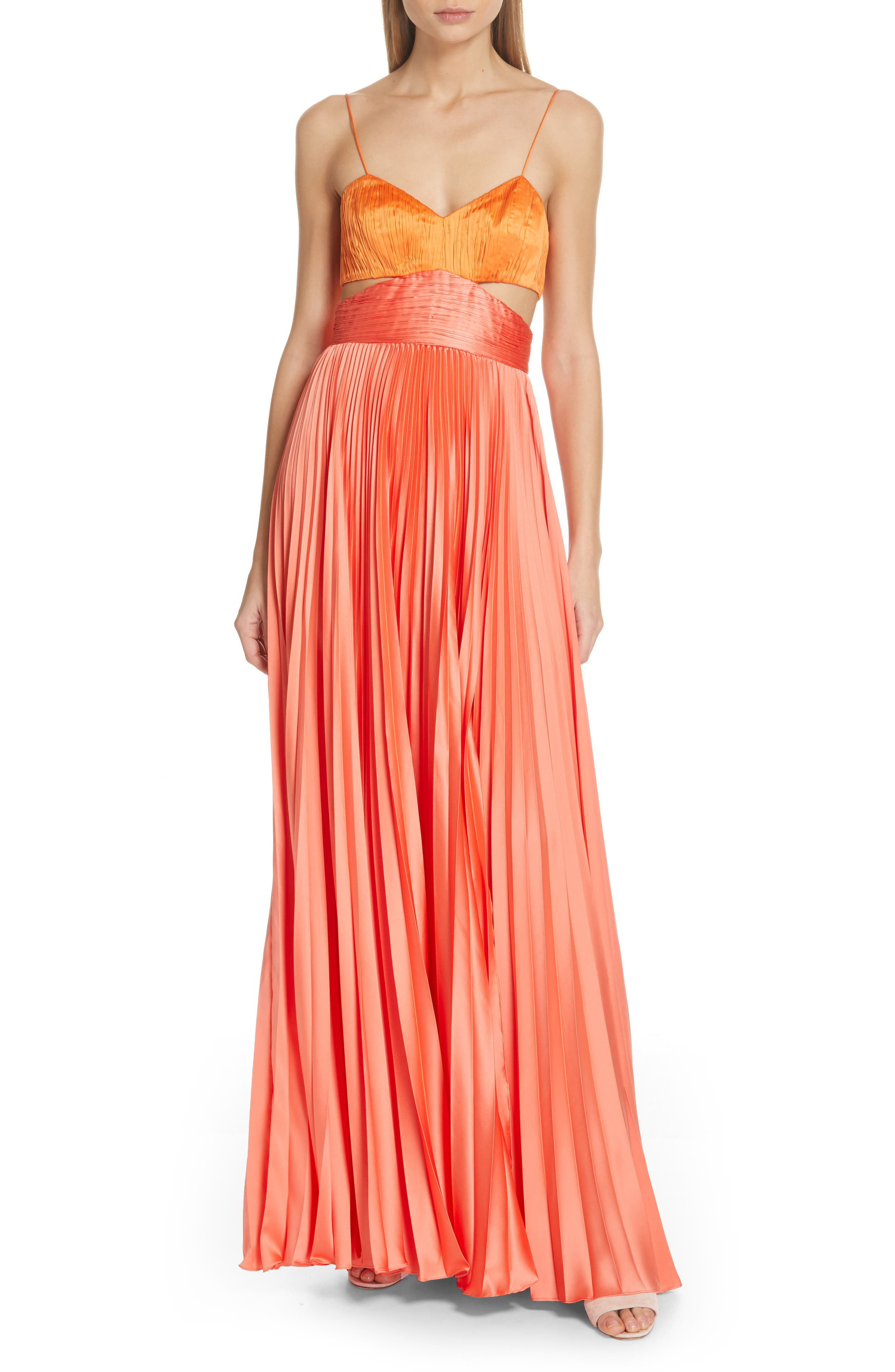 Amur Elodie Cutout Pleated Evening Dress, Orange