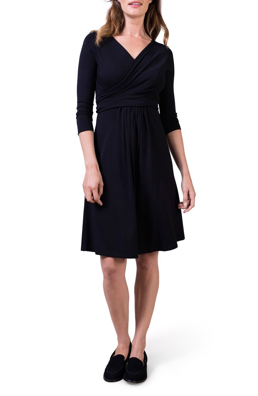 ISABELLA OLIVER,                             'Avebury' Nursing Wrap Maternity Dress,                             Alternate thumbnail 3, color,                             001
