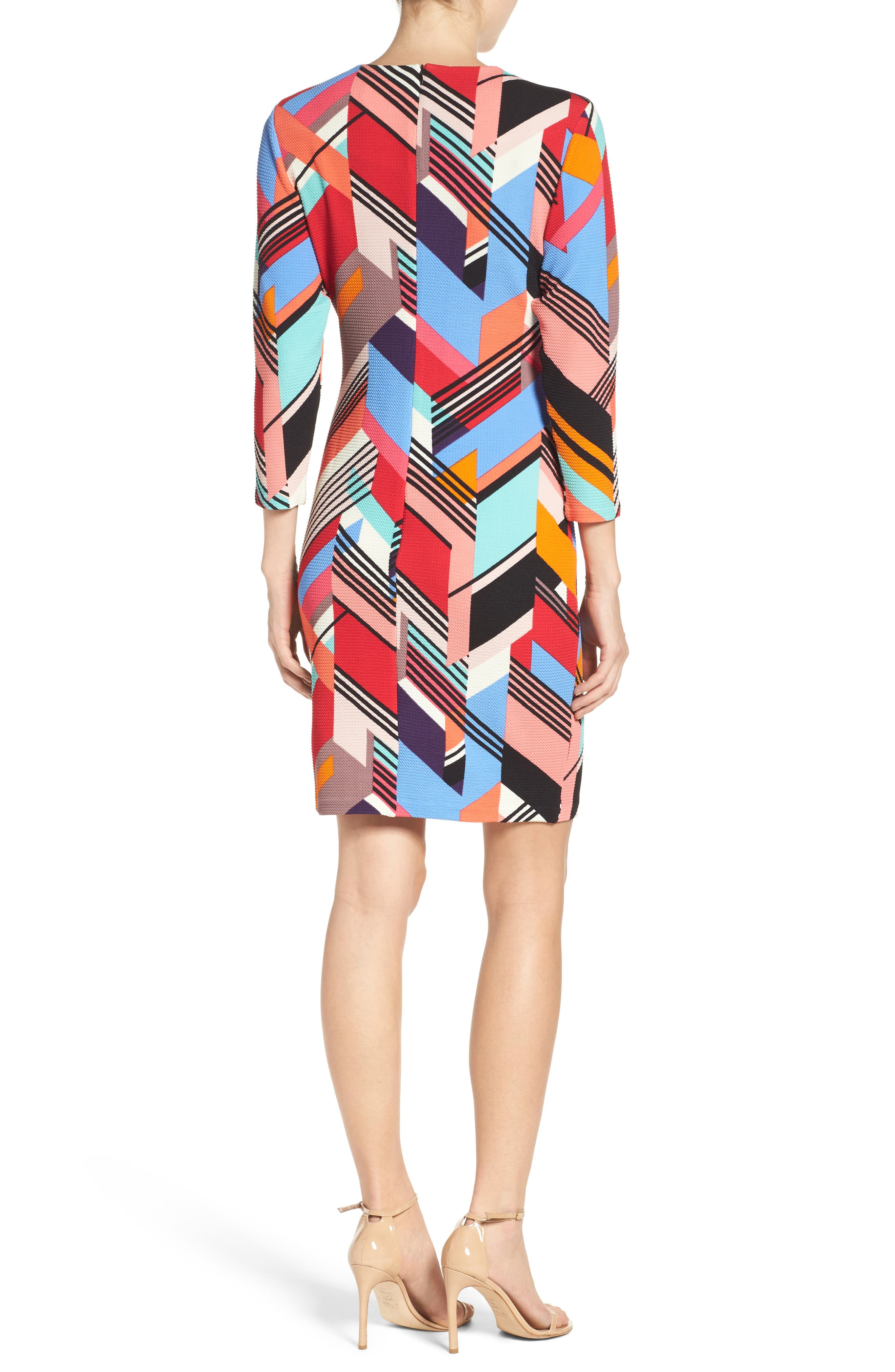 Print Piqué Sheath Dress,                             Alternate thumbnail 2, color,