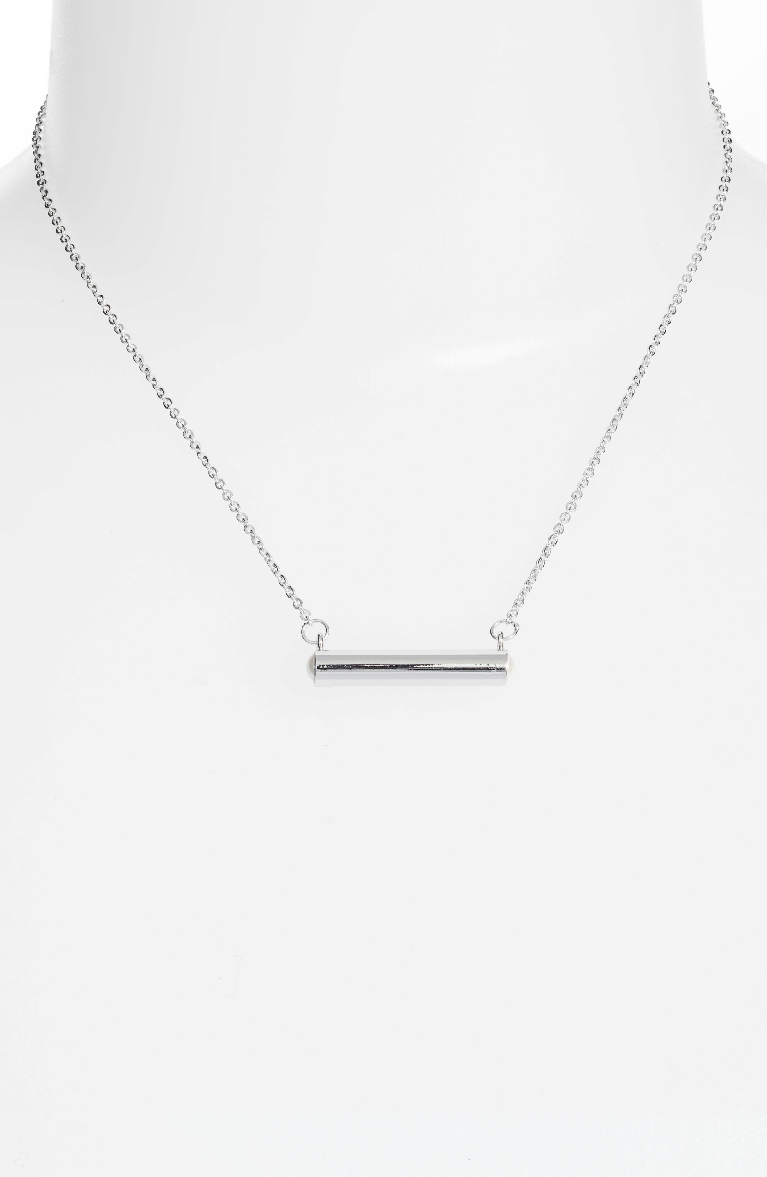June Imitation Pearl Bar Pendant Necklace,                             Alternate thumbnail 2, color,                             040
