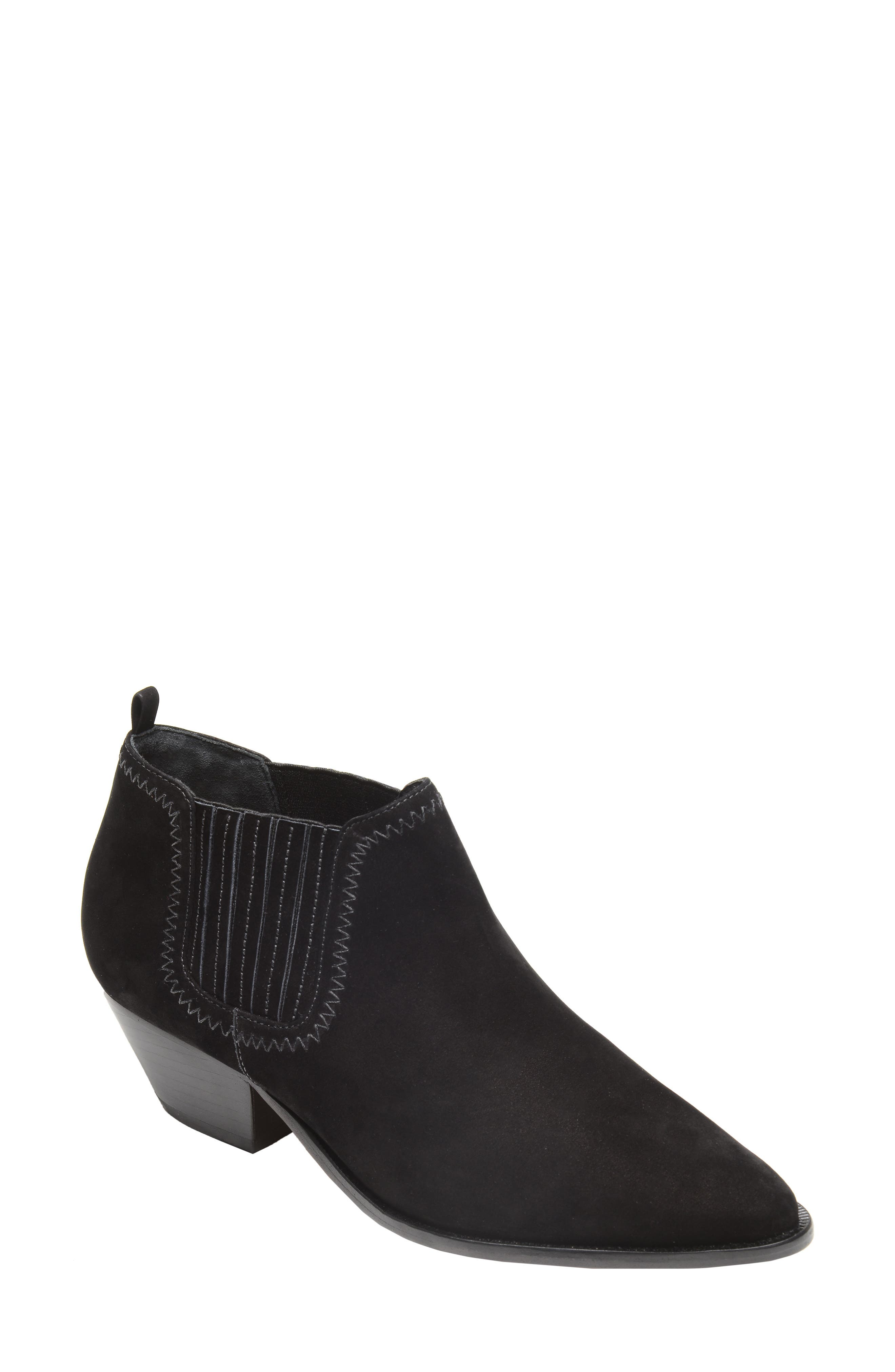 Women'S Jaqueline Pointed Toe Western Suede Booties in Black from SCHUTZ-SHOES