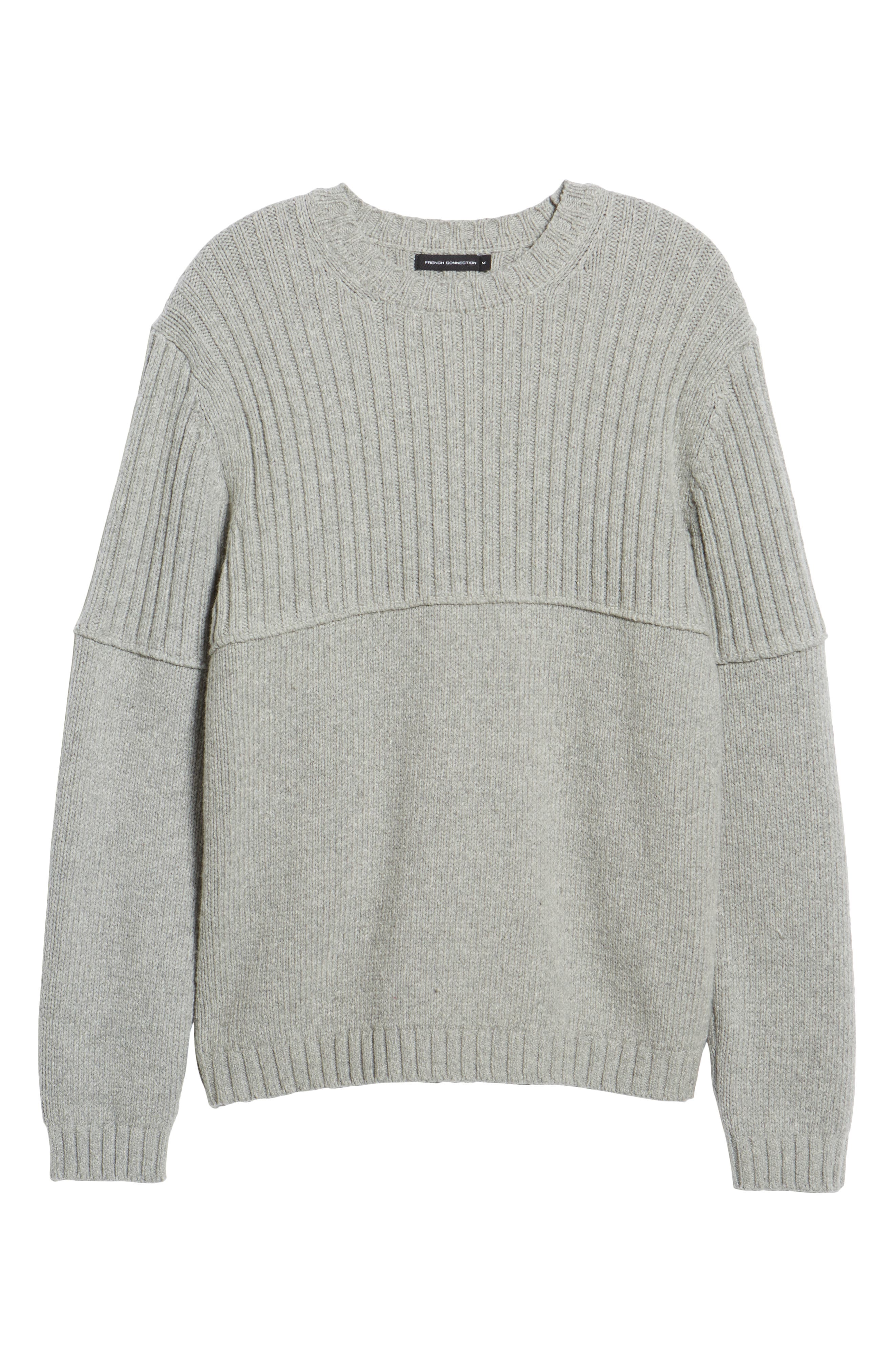 Split Linked Sweater,                             Alternate thumbnail 6, color,                             GREY MELANGE