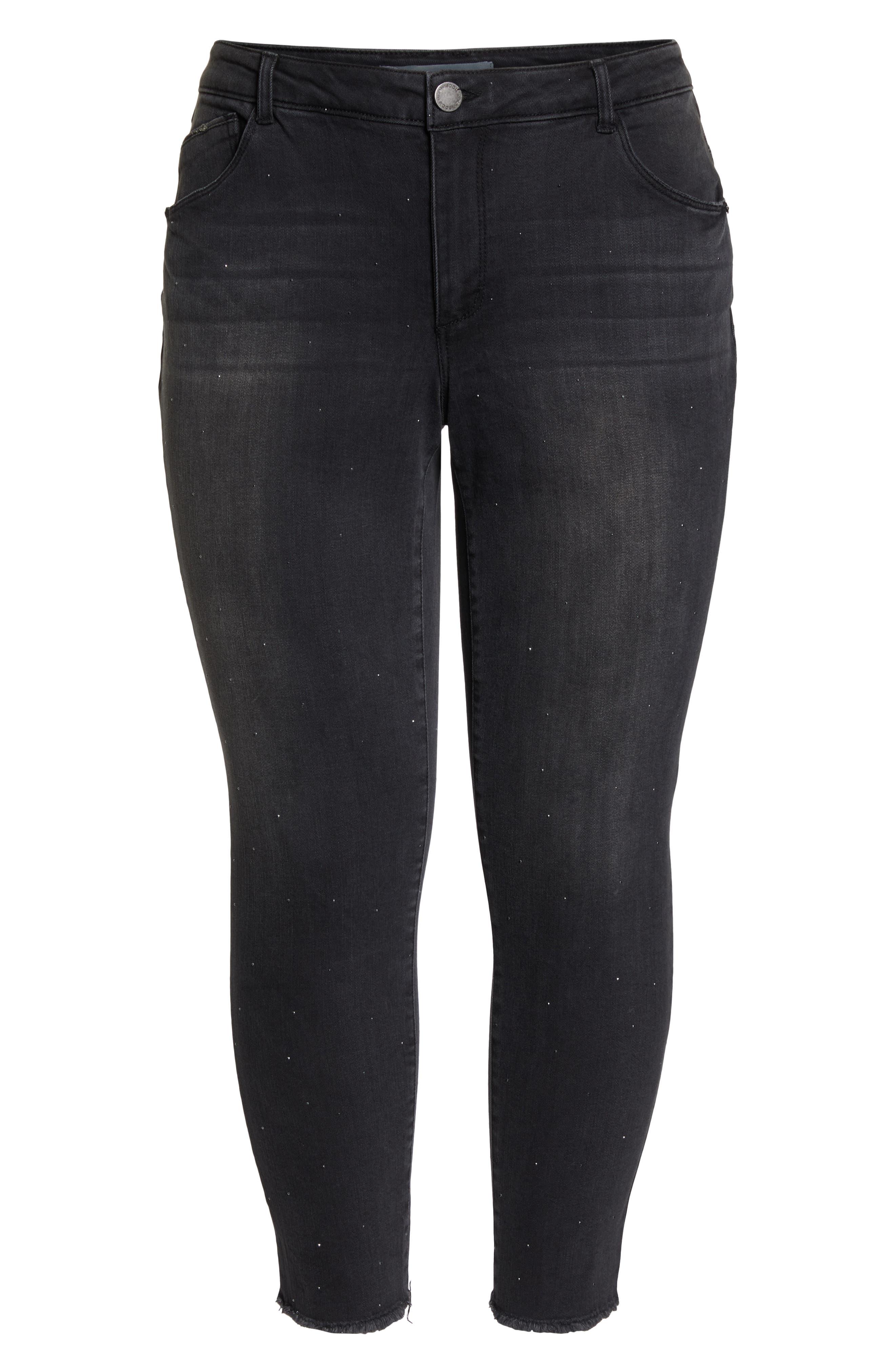 Ab-Solution Embellished Ankle Jeans,                             Alternate thumbnail 6, color,                             BLACK