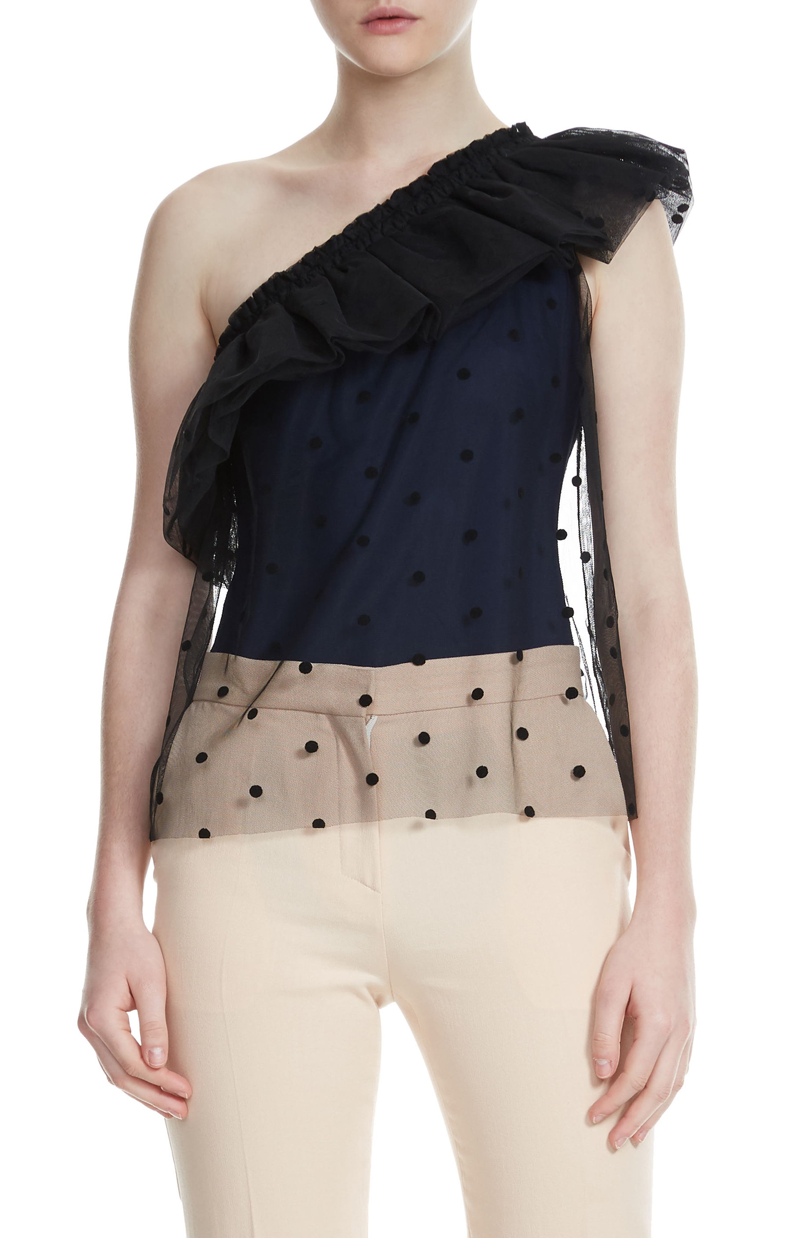 Lowers Dot Mesh Overlay One Shoulder Top,                         Main,                         color,